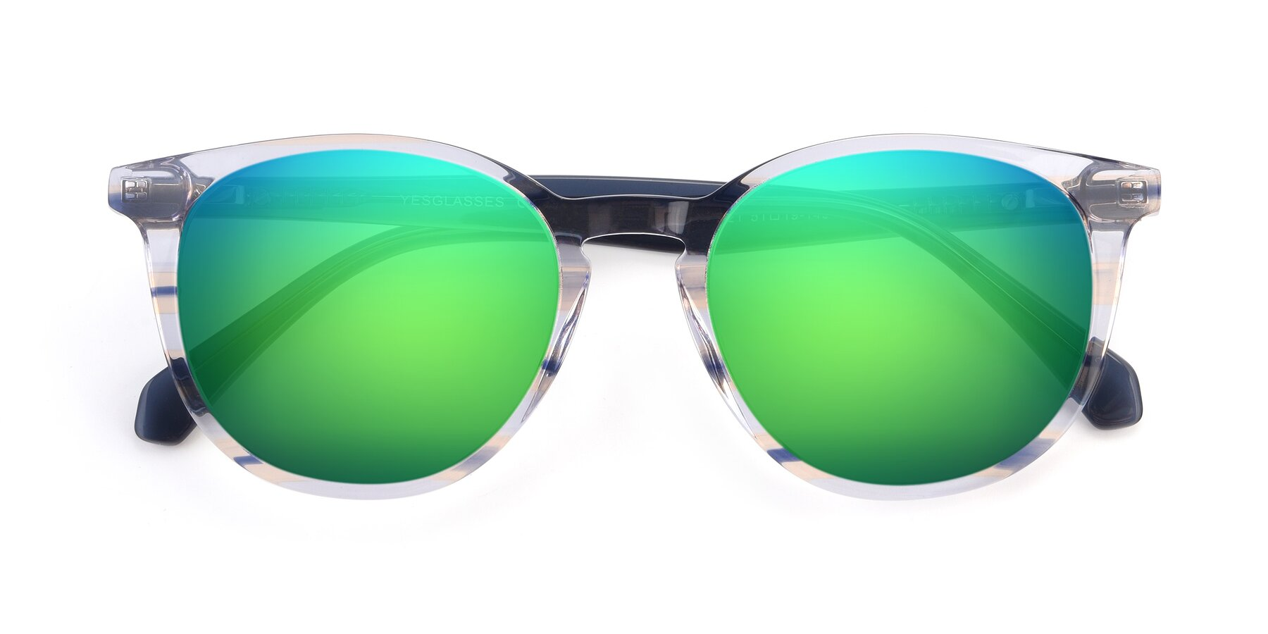 Folded Front of 17721 in Stripe Blue with Green Mirrored Lenses