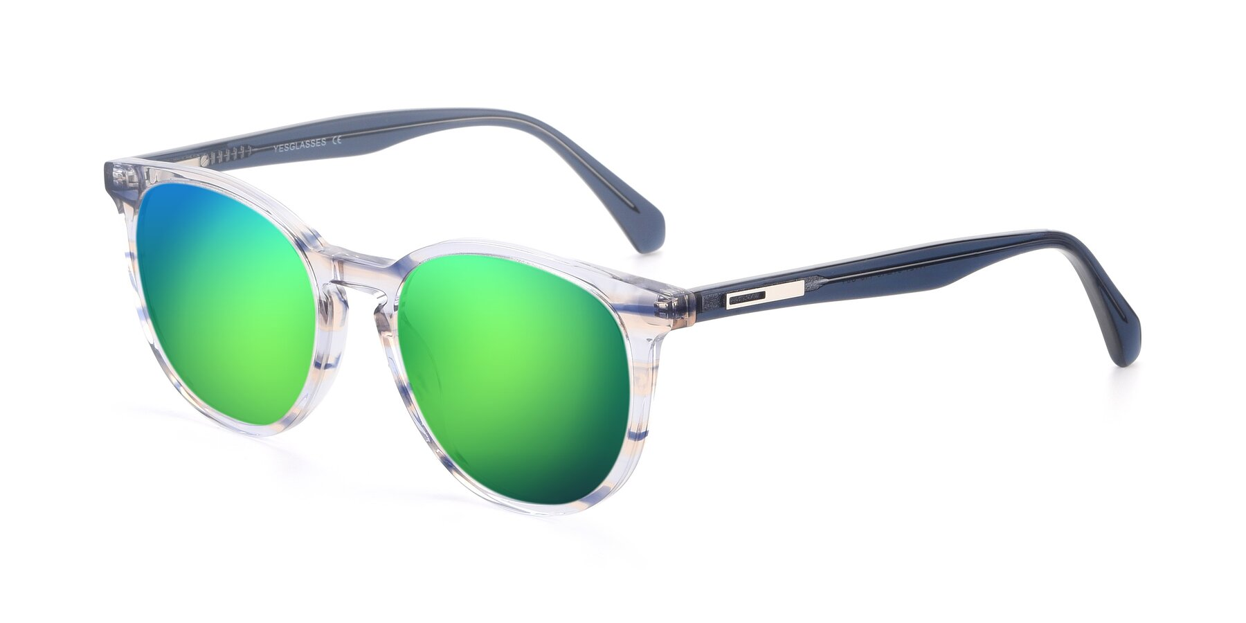 Angle of 17721 in Stripe Blue with Green Mirrored Lenses