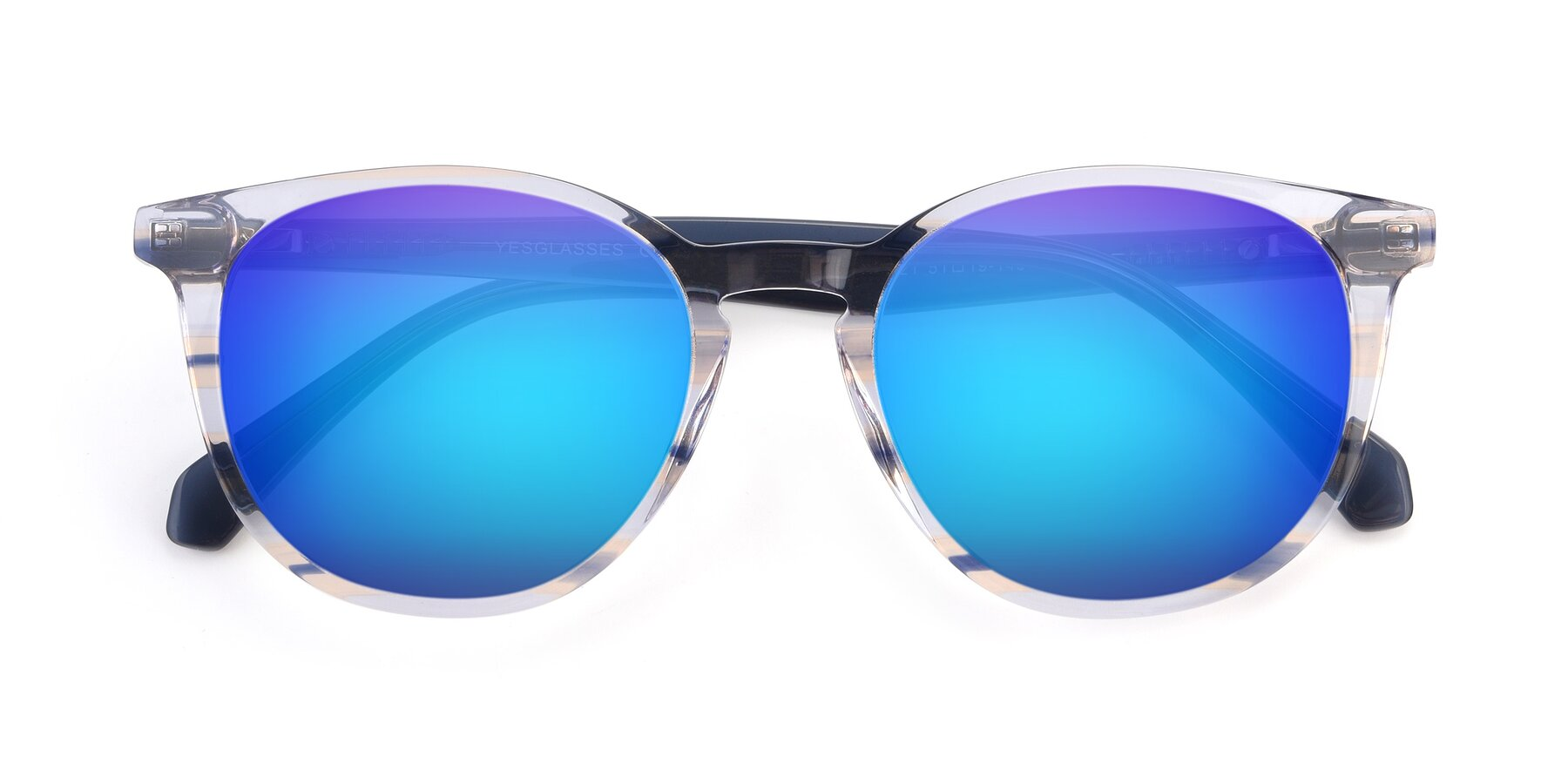 Folded Front of 17721 in Stripe Blue with Blue Mirrored Lenses