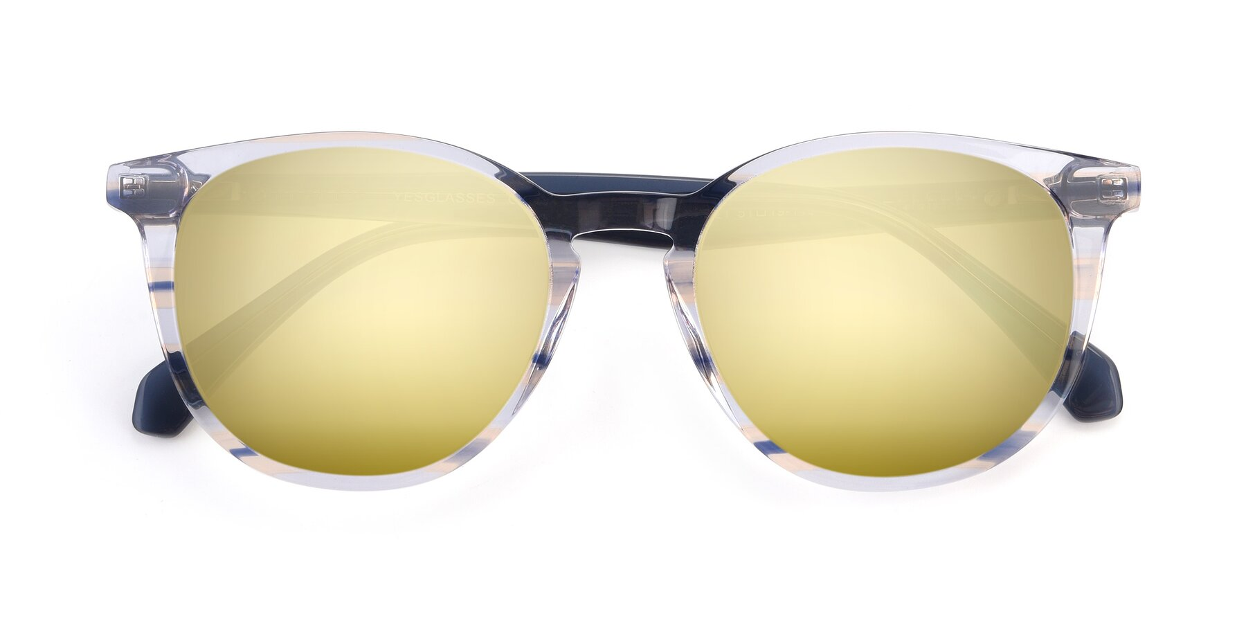 Folded Front of 17721 in Stripe Blue with Gold Mirrored Lenses