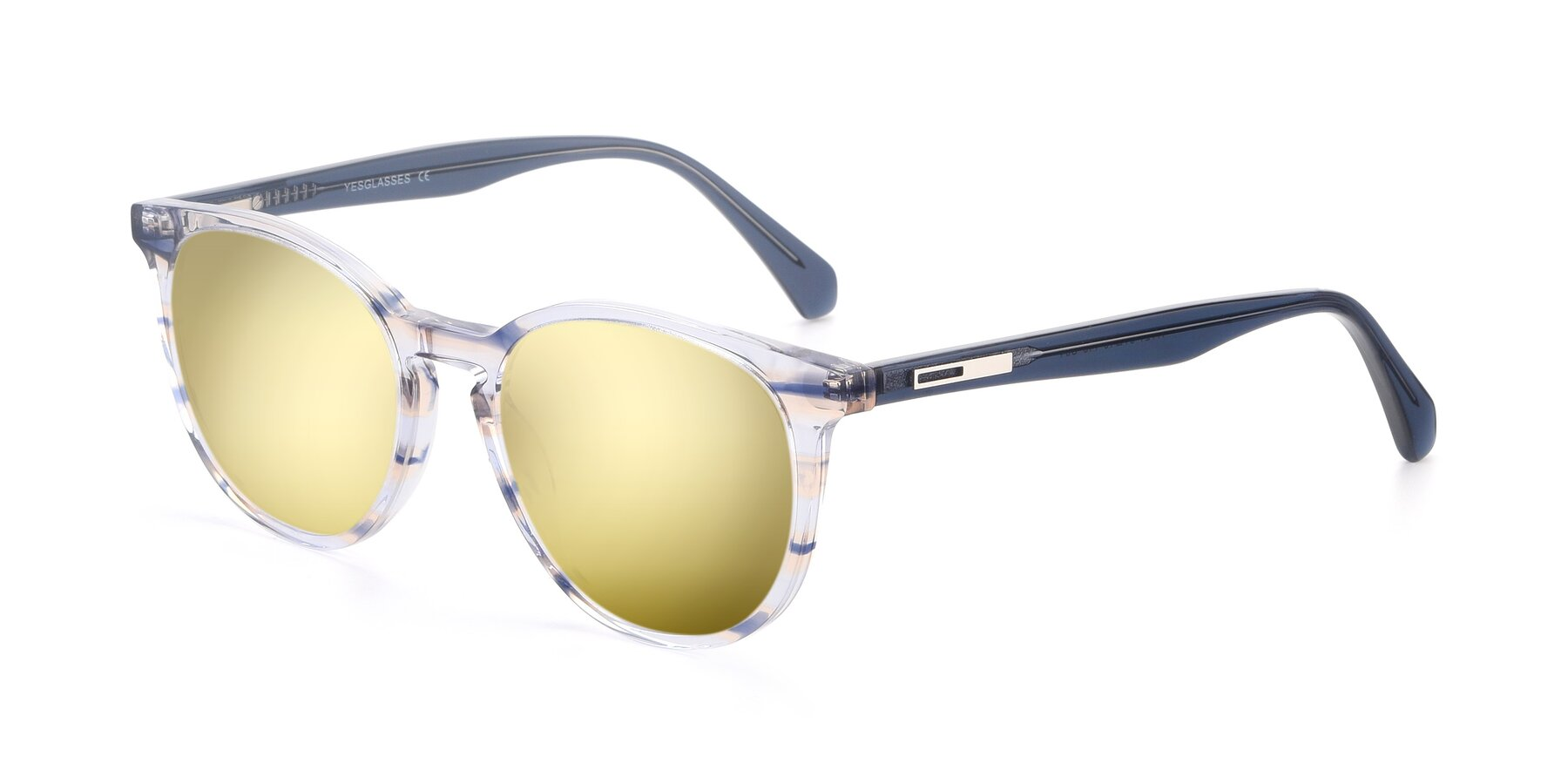 Angle of 17721 in Stripe Blue with Gold Mirrored Lenses