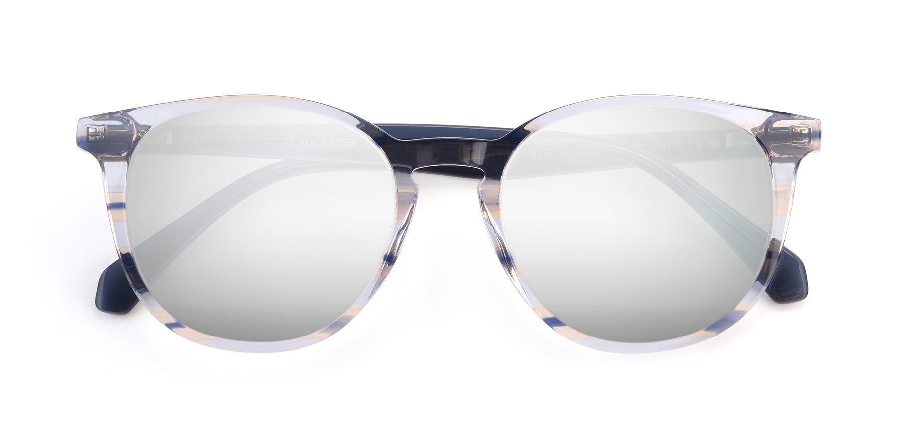 Folded Front of 17721 in Stripe Blue with Silver Mirrored Lenses