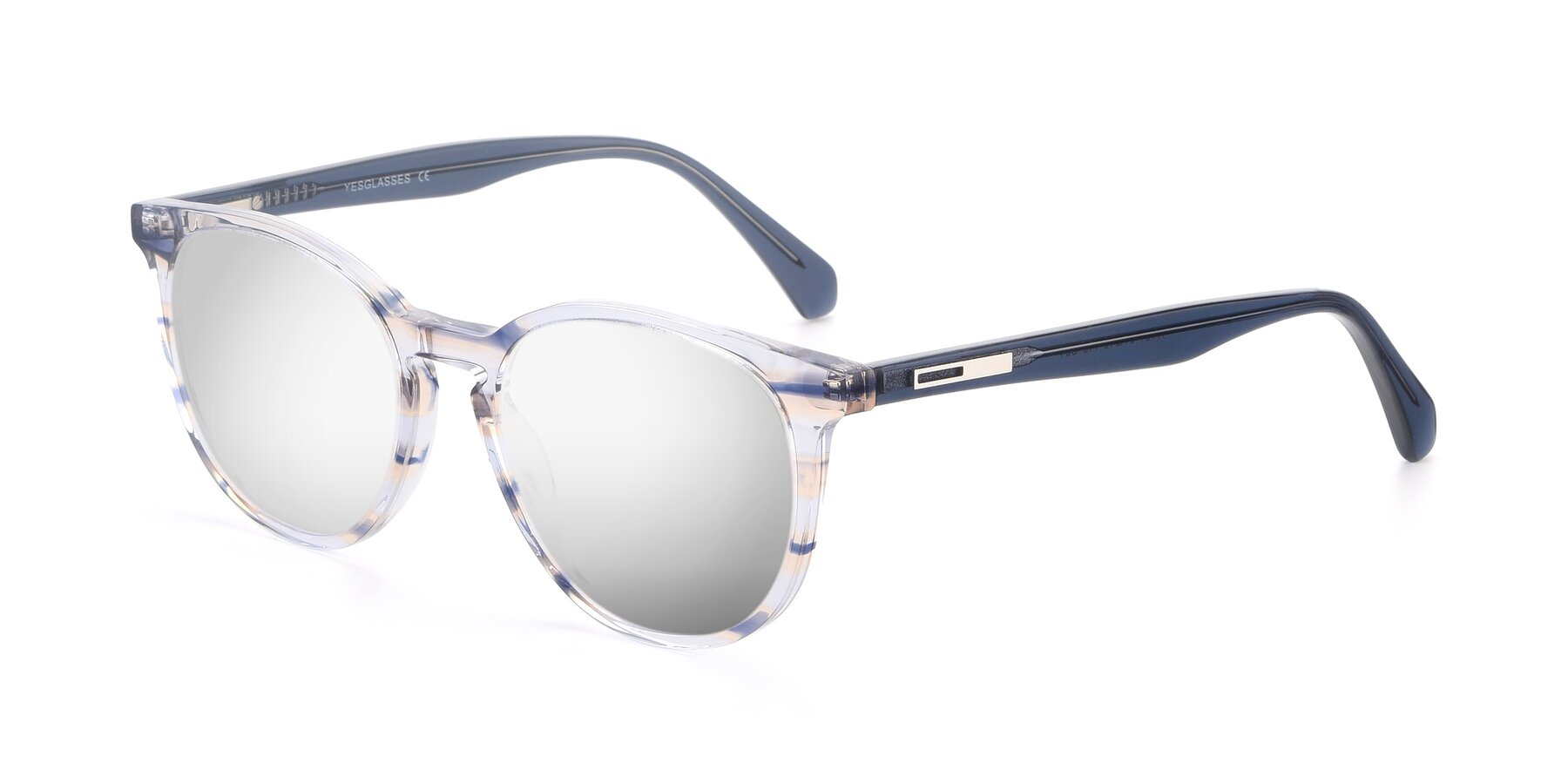 Angle of 17721 in Stripe Blue with Silver Mirrored Lenses