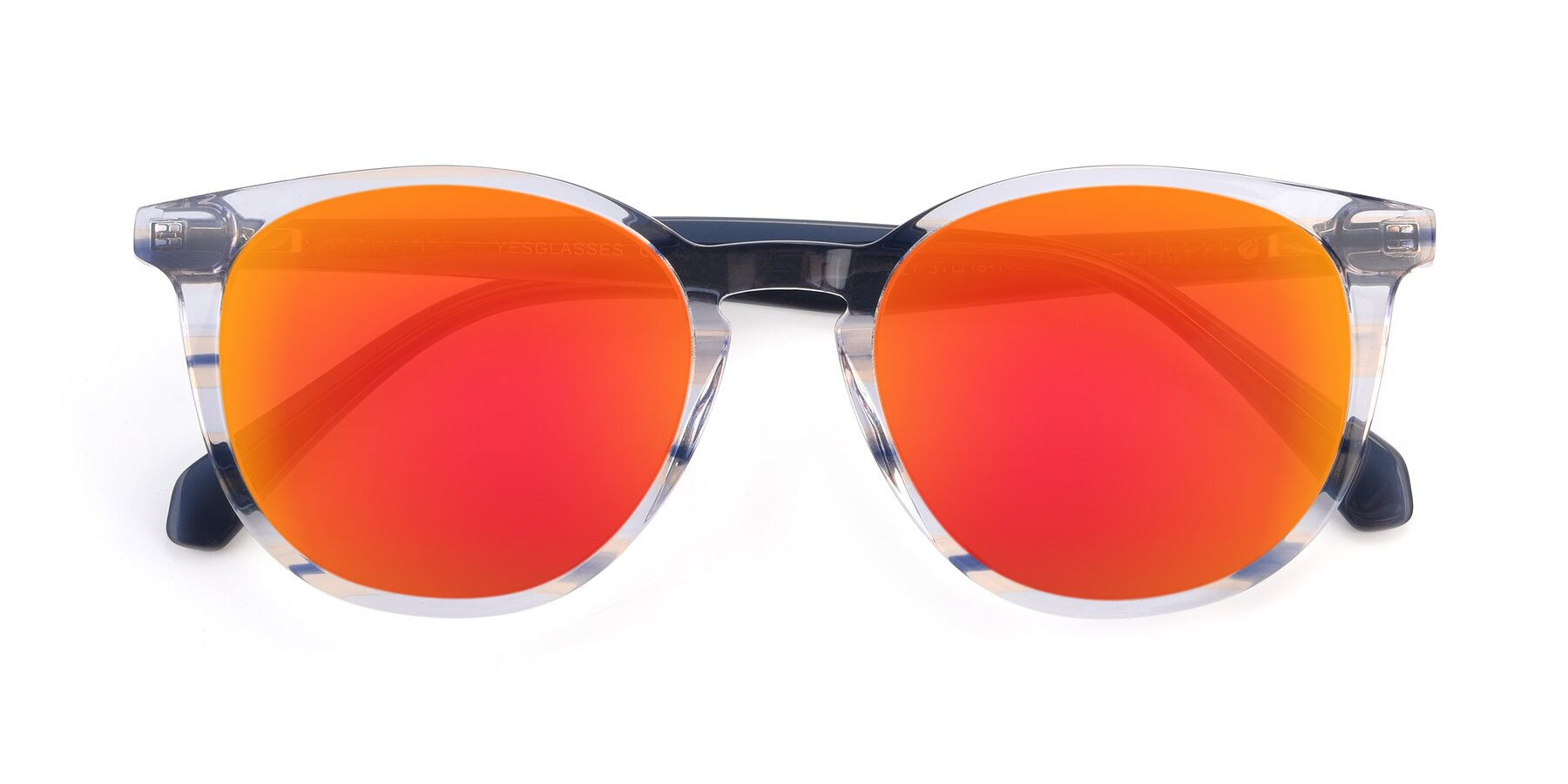 Folded Front of 17721 in Stripe Blue with Red Gold Mirrored Lenses
