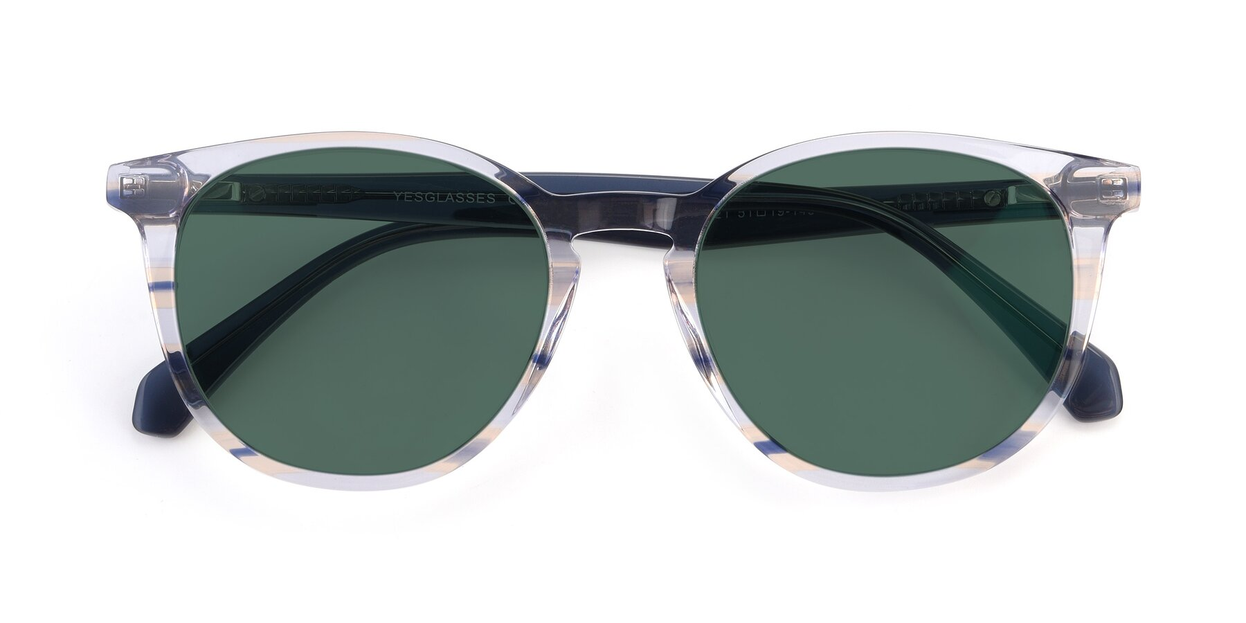 Folded Front of 17721 in Stripe Blue with Green Polarized Lenses