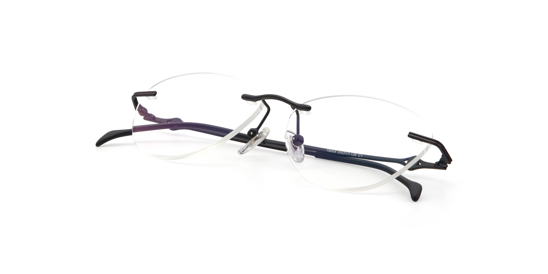 View of 19005 in Black with Clear Blue Light Blocking Lenses