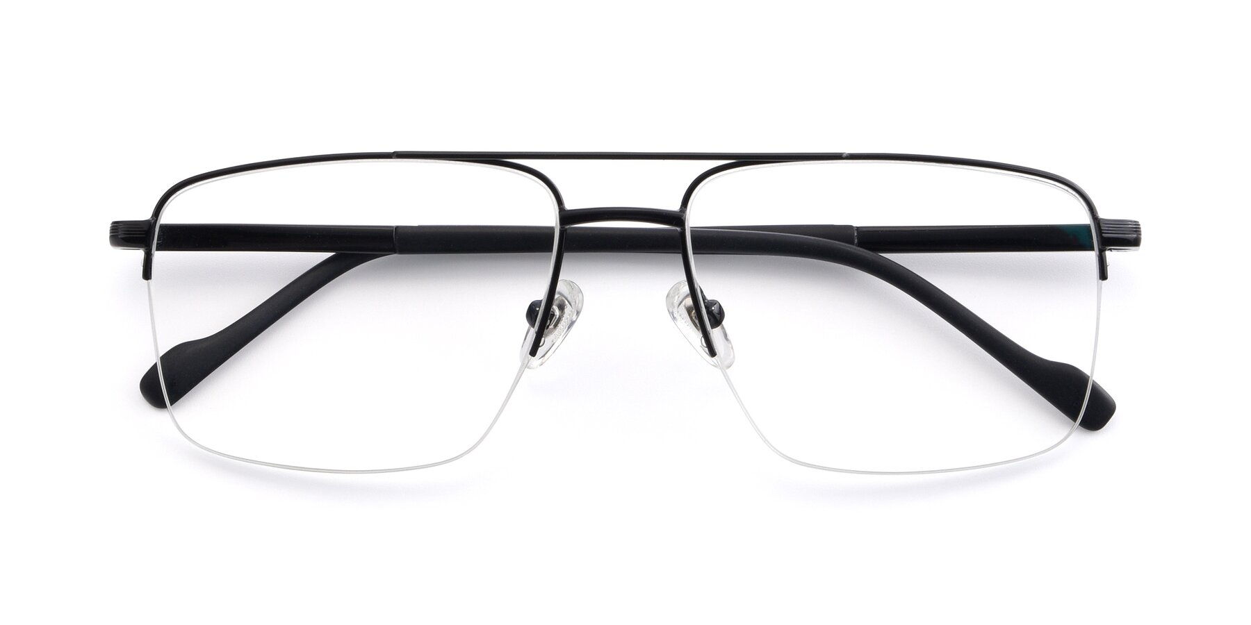 Folded Front of 19013 in Black with Clear Eyeglass Lenses
