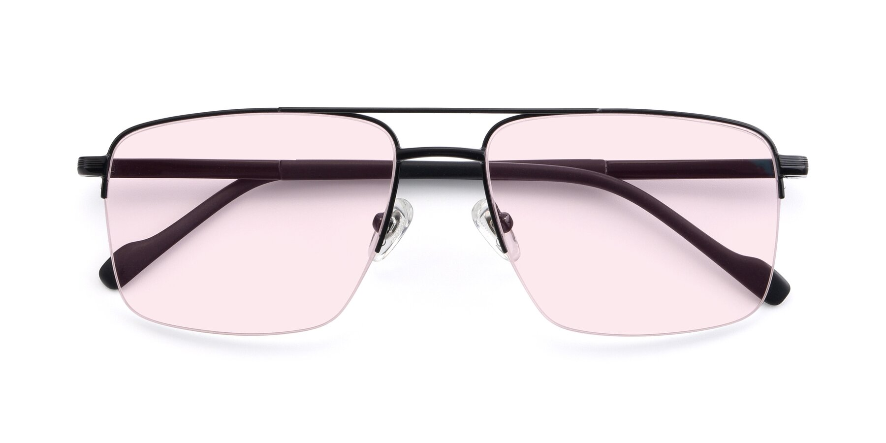 Folded Front of 19013 in Black with Light Pink Tinted Lenses