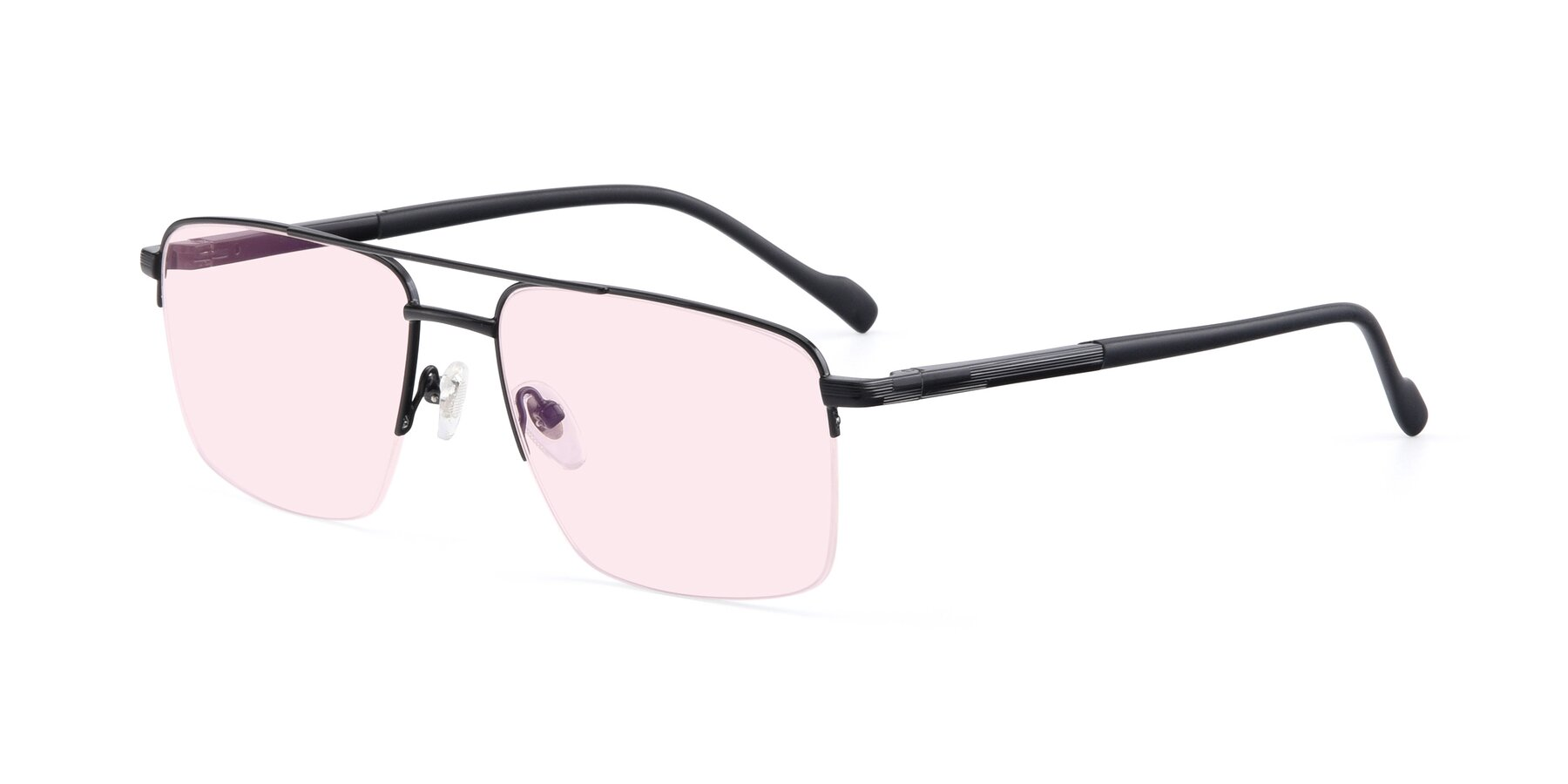 Angle of 19013 in Black with Light Pink Tinted Lenses