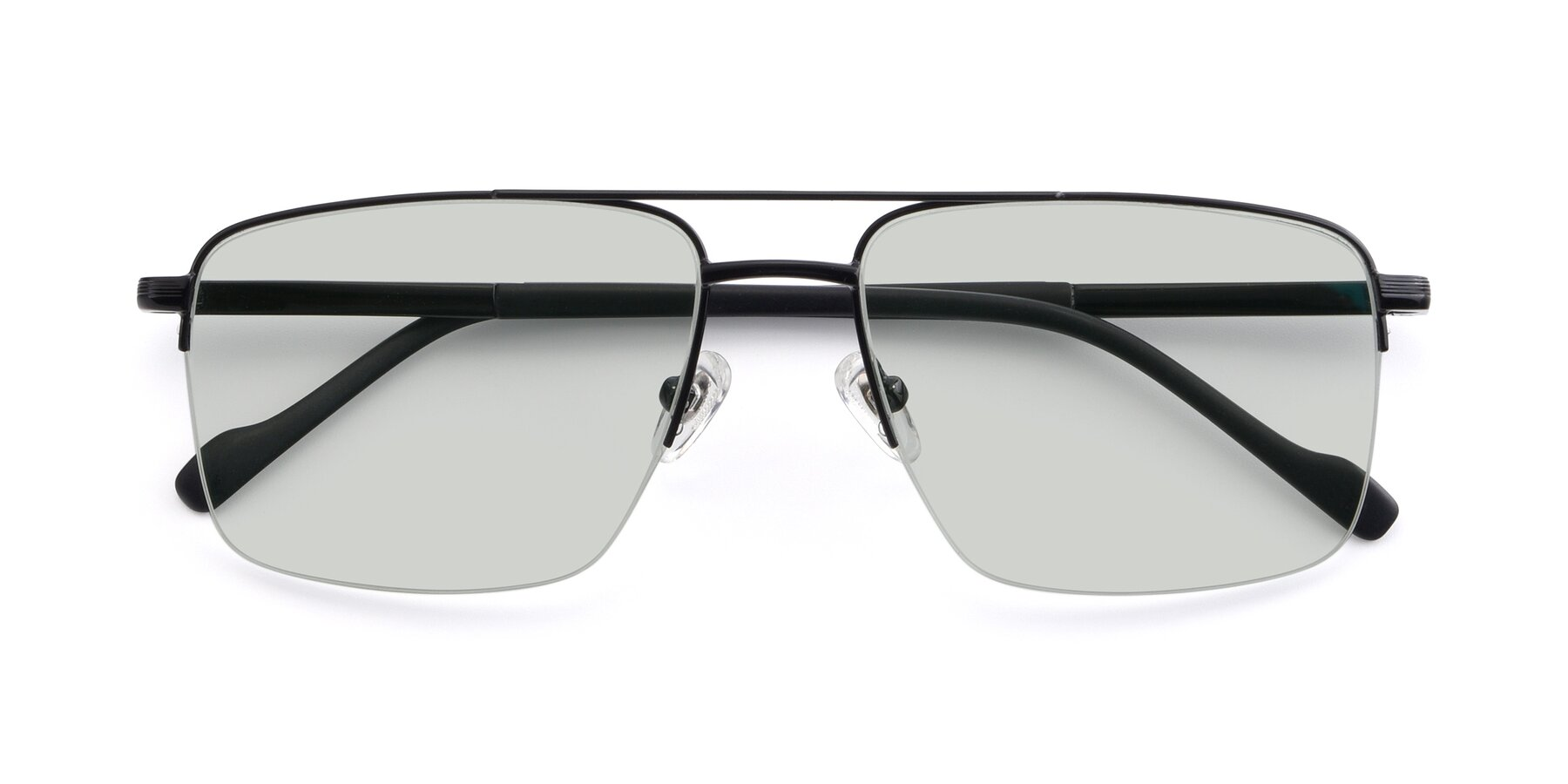 Folded Front of 19013 in Black with Light Green Tinted Lenses