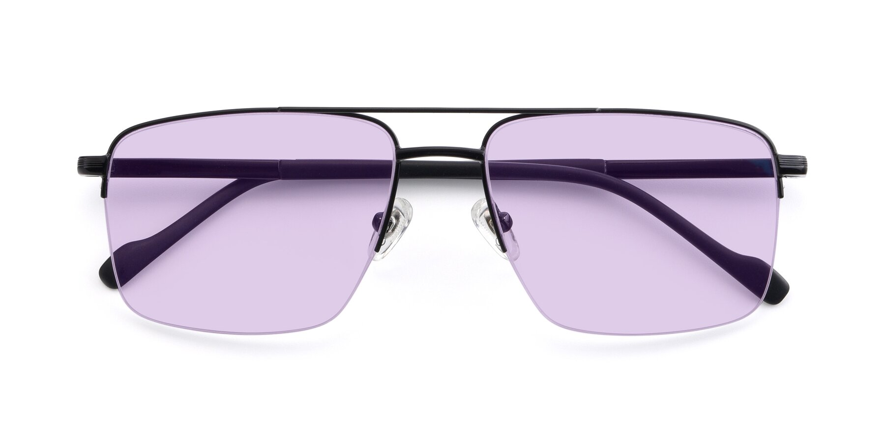 Folded Front of 19013 in Black with Light Purple Tinted Lenses