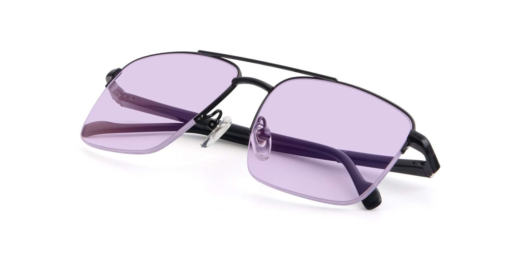 View of 19013 in Black with Light Purple Tinted Lenses