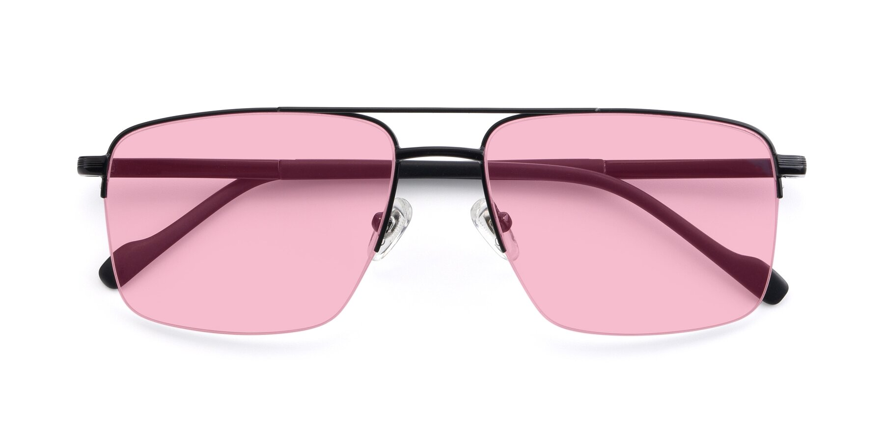 Folded Front of 19013 in Black with Medium Pink Tinted Lenses