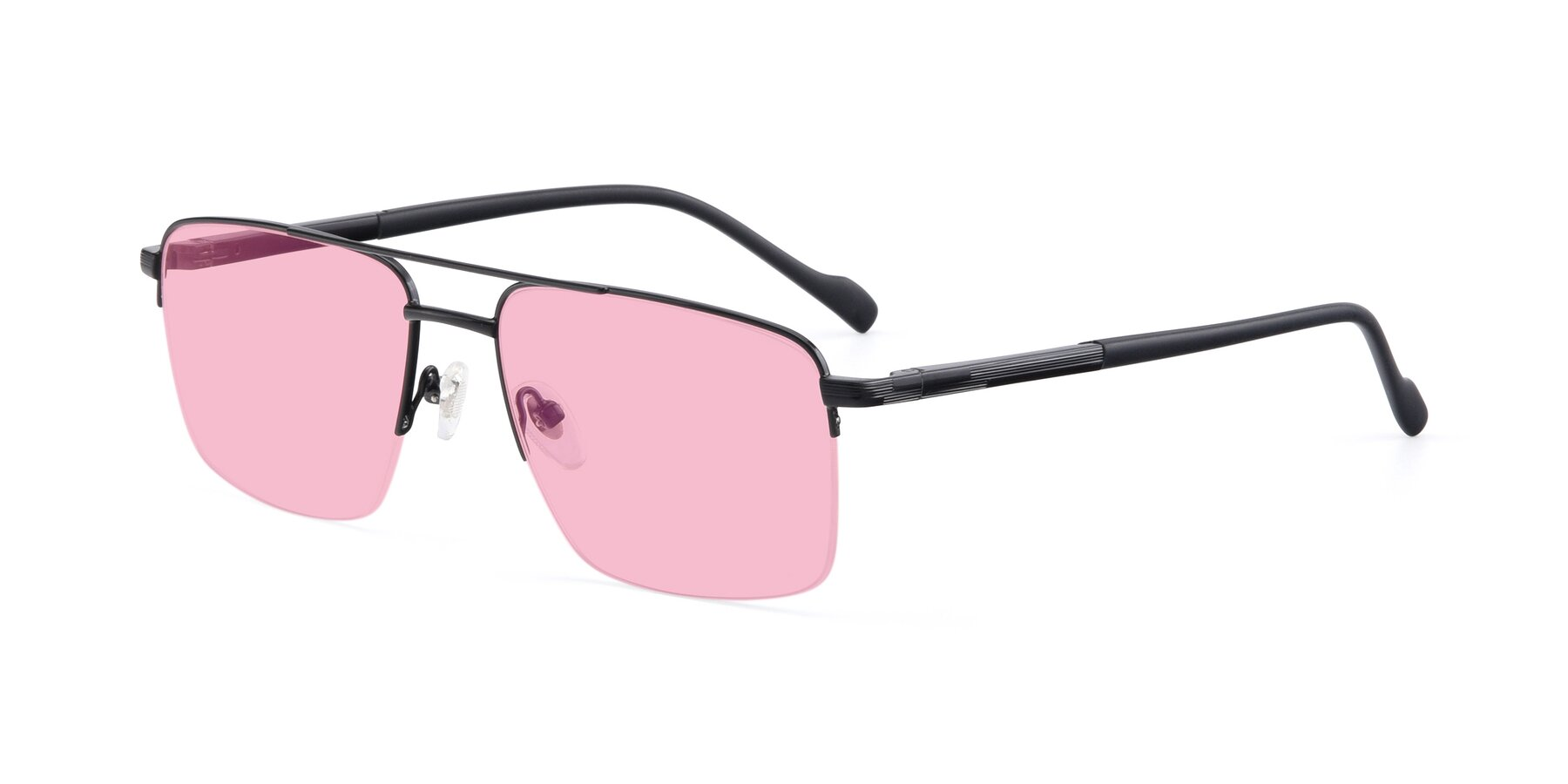 Angle of 19013 in Black with Medium Pink Tinted Lenses