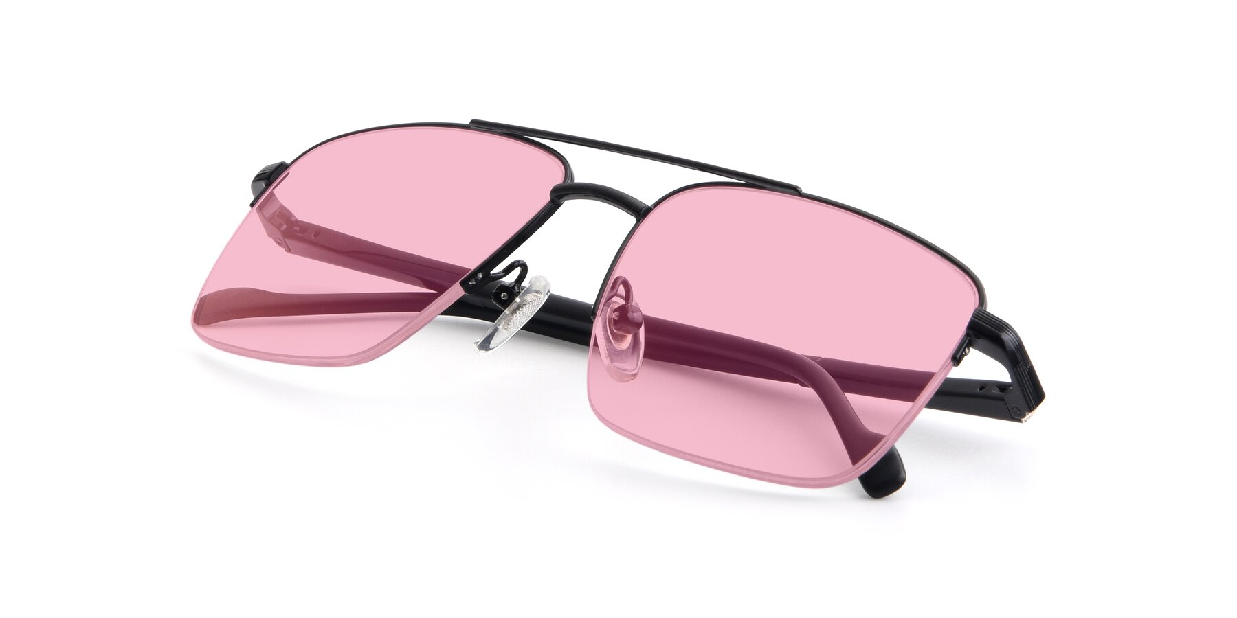 View of 19013 in Black with Medium Pink Tinted Lenses