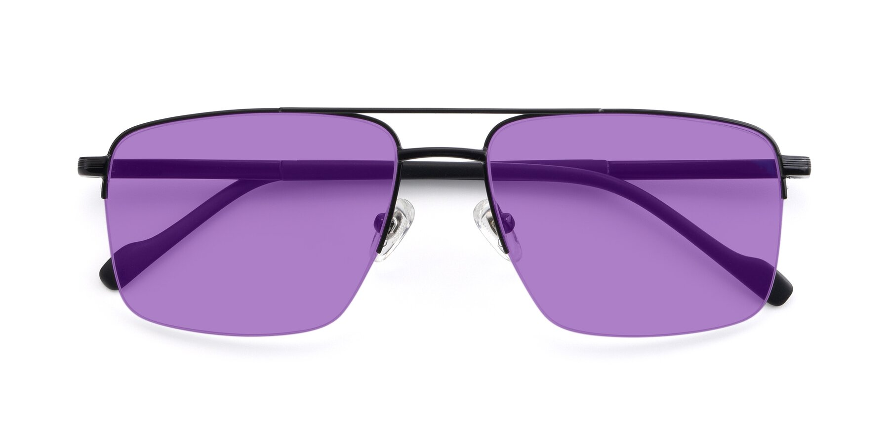 Folded Front of 19013 in Black with Medium Purple Tinted Lenses