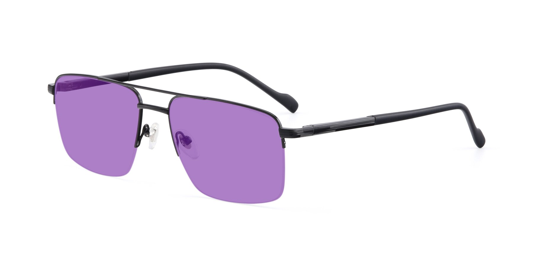 Angle of 19013 in Black with Medium Purple Tinted Lenses