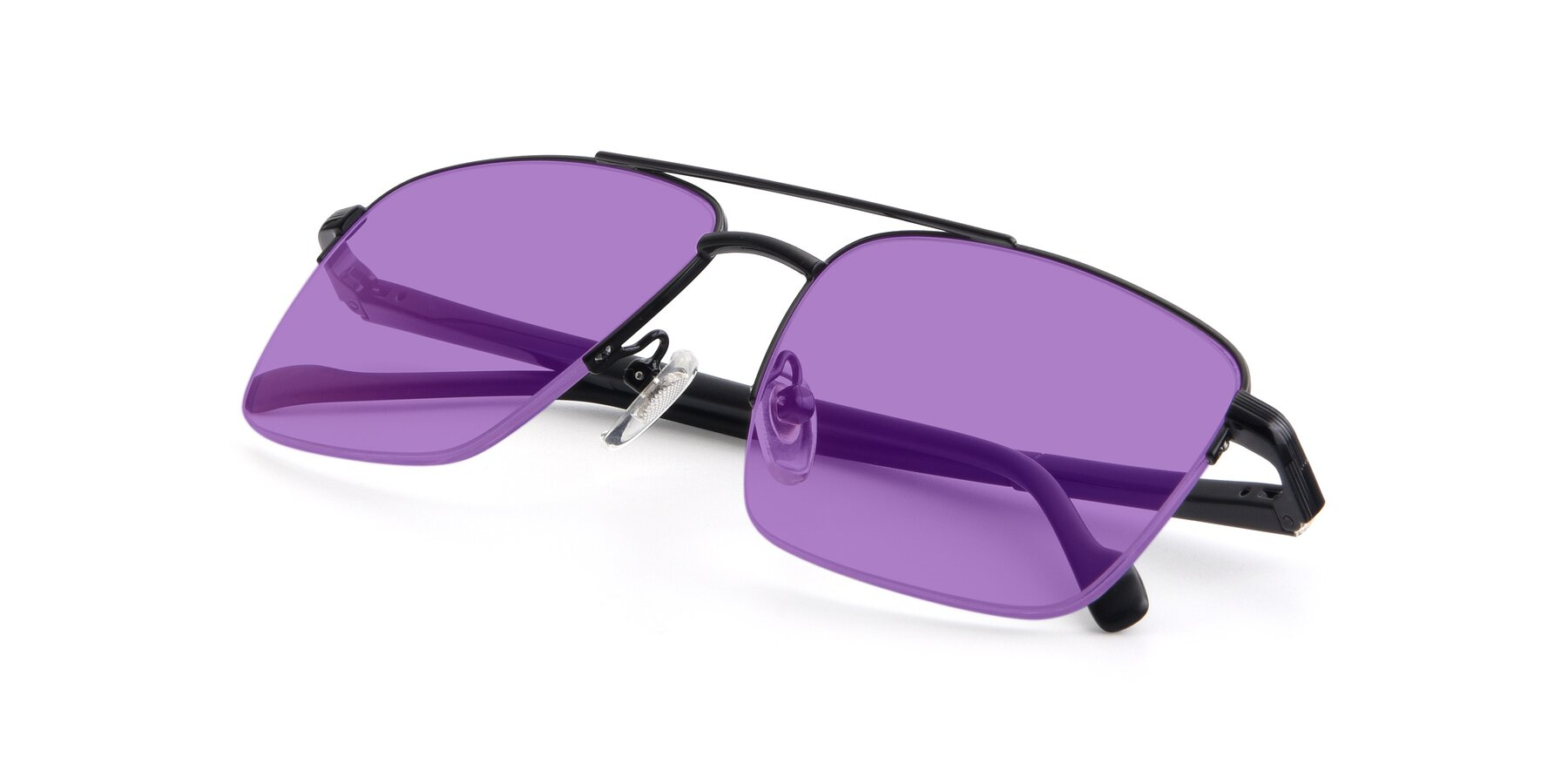 View of 19013 in Black with Medium Purple Tinted Lenses