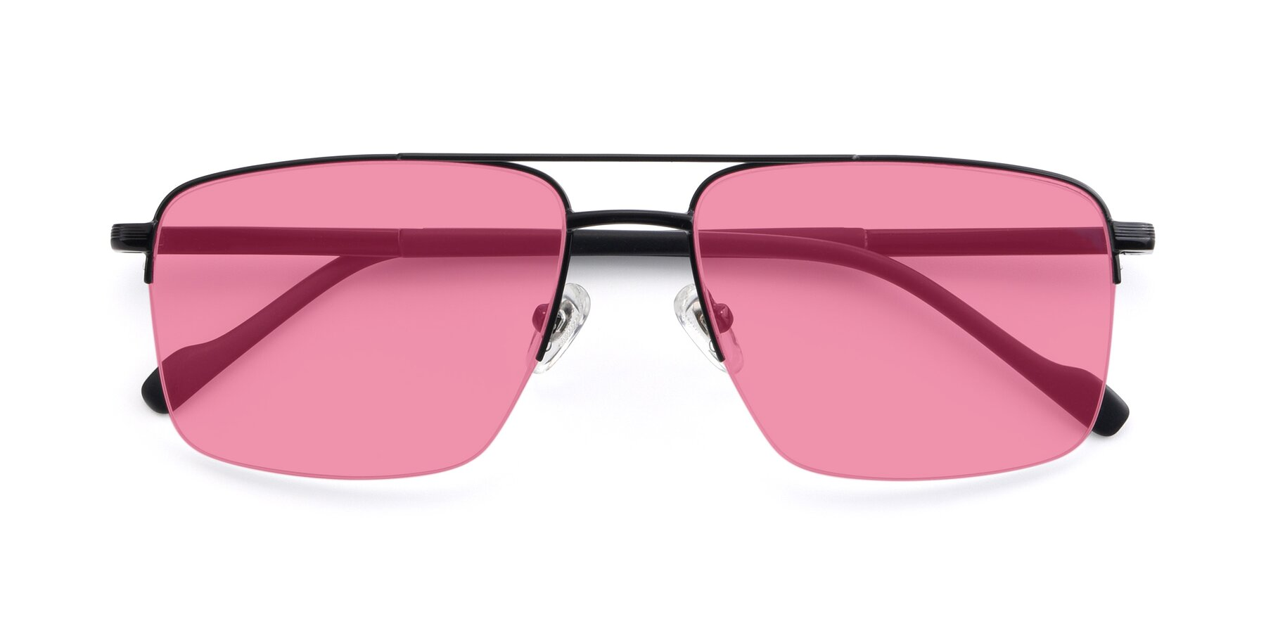 Folded Front of 19013 in Black with Pink Tinted Lenses
