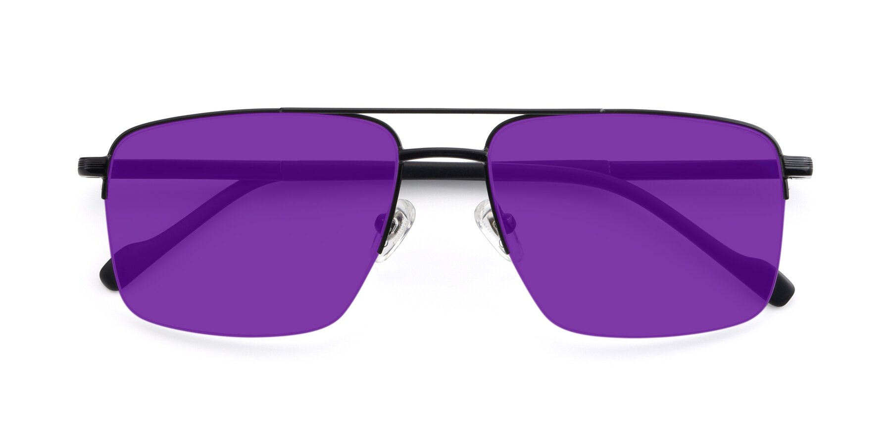 Folded Front of 19013 in Black with Purple Tinted Lenses