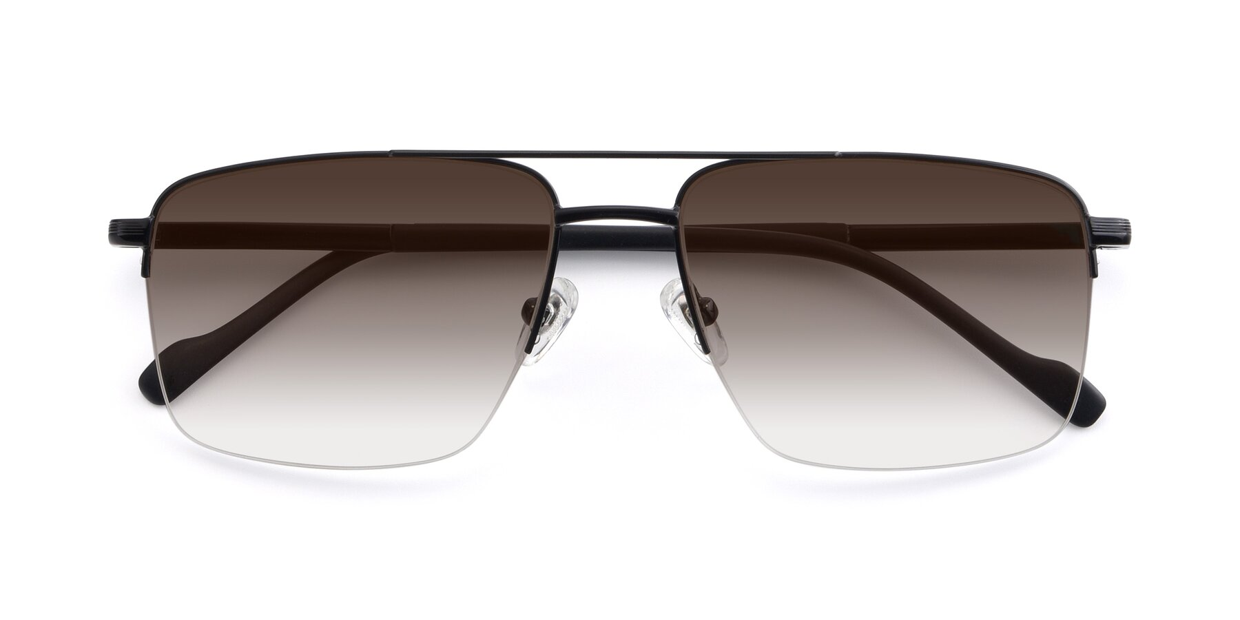Folded Front of 19013 in Black with Brown Gradient Lenses