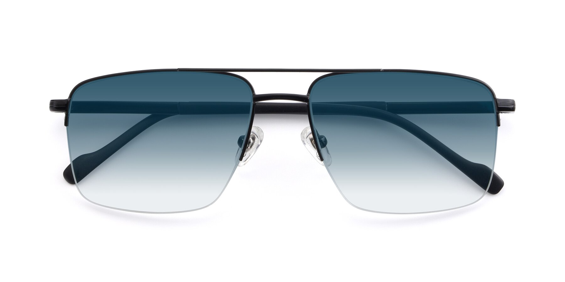 Folded Front of 19013 in Black with Blue Gradient Lenses