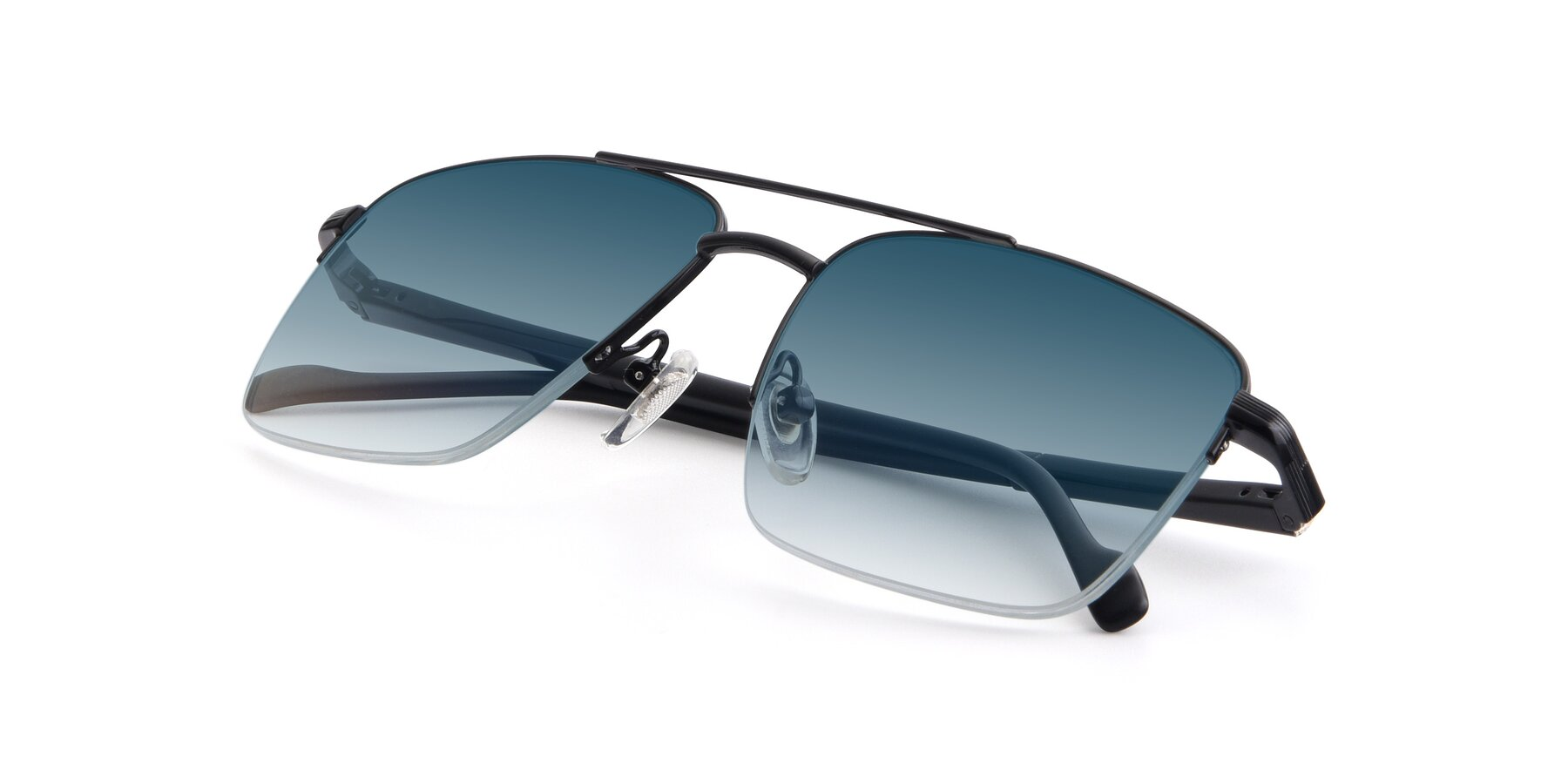 View of 19013 in Black with Blue Gradient Lenses