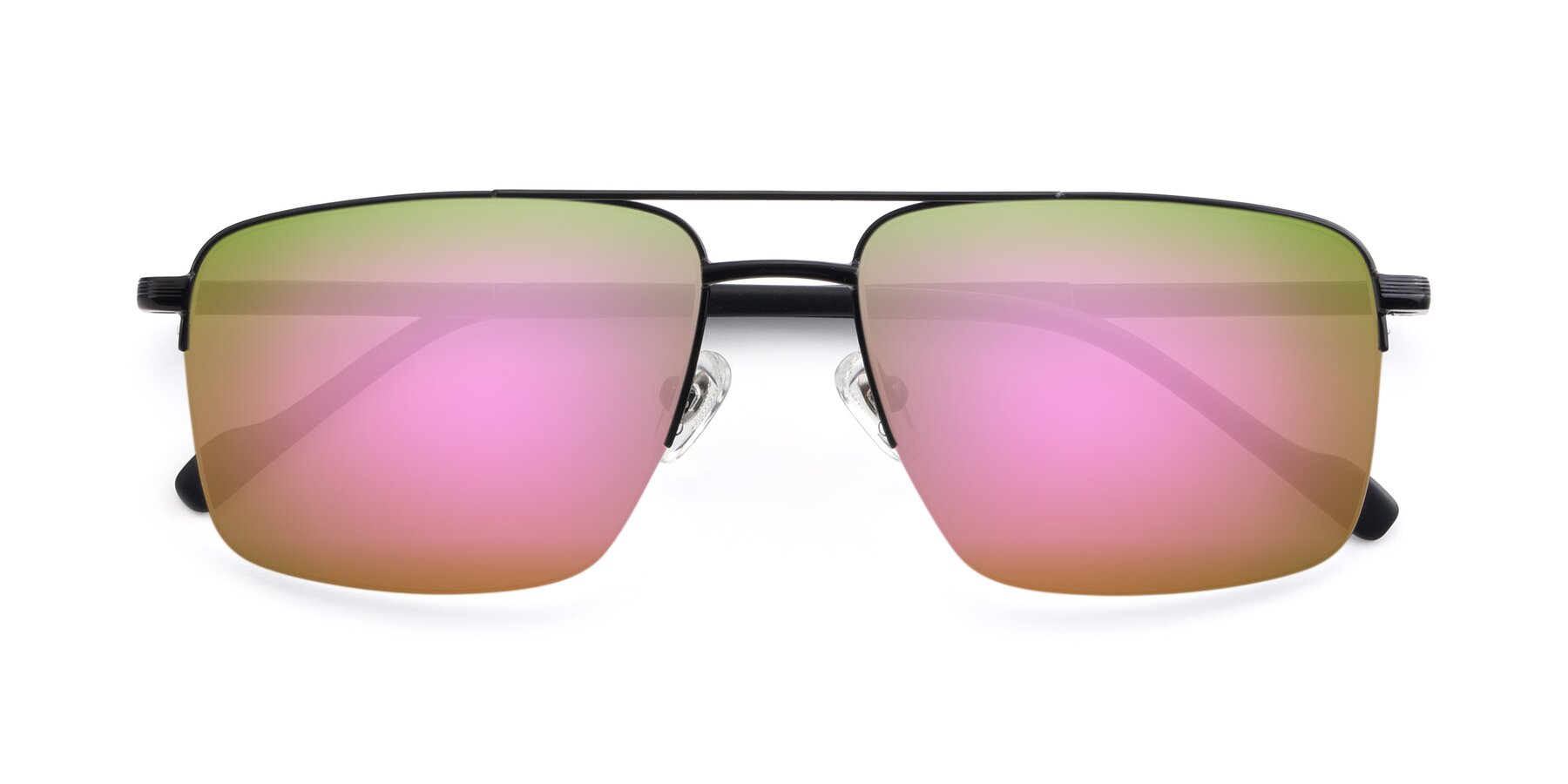 Folded Front of 19013 in Black with Pink Mirrored Lenses