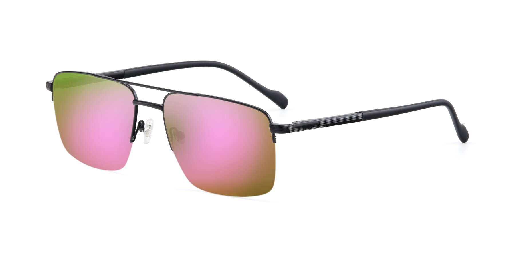Angle of 19013 in Black with Pink Mirrored Lenses