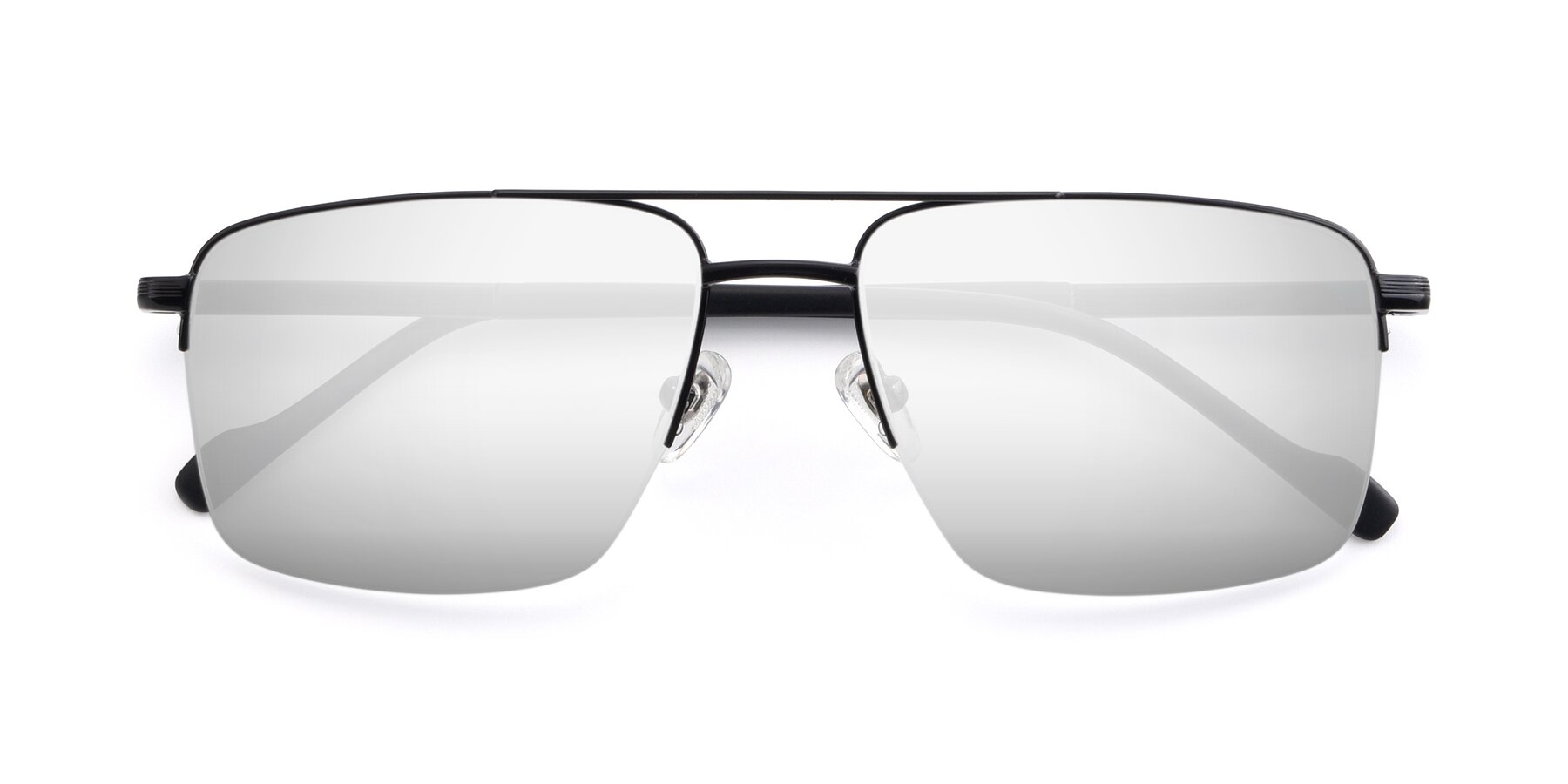 Folded Front of 19013 in Black with Silver Mirrored Lenses