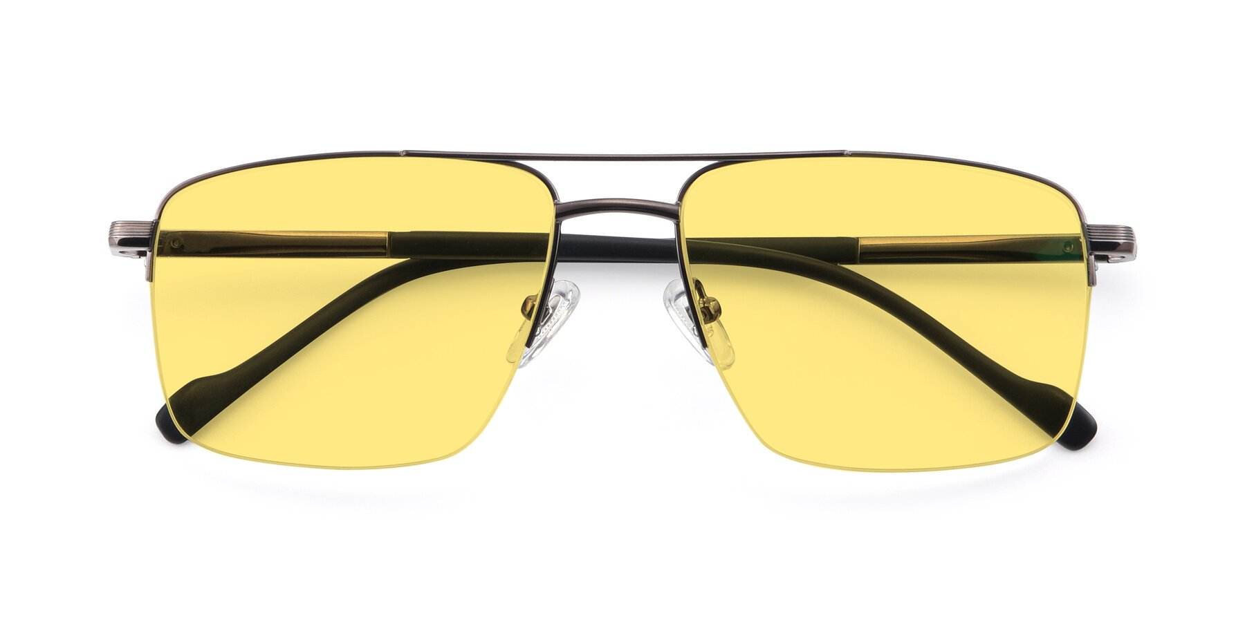 Folded Front of 19013 in Gunmetal with Medium Yellow Tinted Lenses
