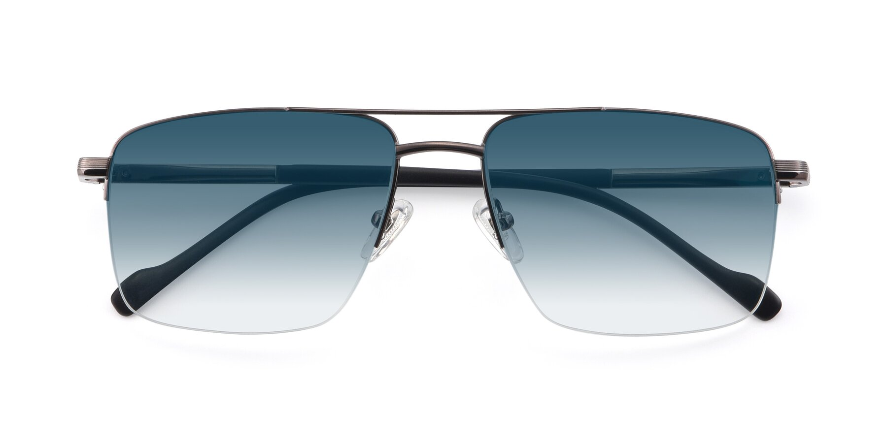 Folded Front of 19013 in Gunmetal with Blue Gradient Lenses