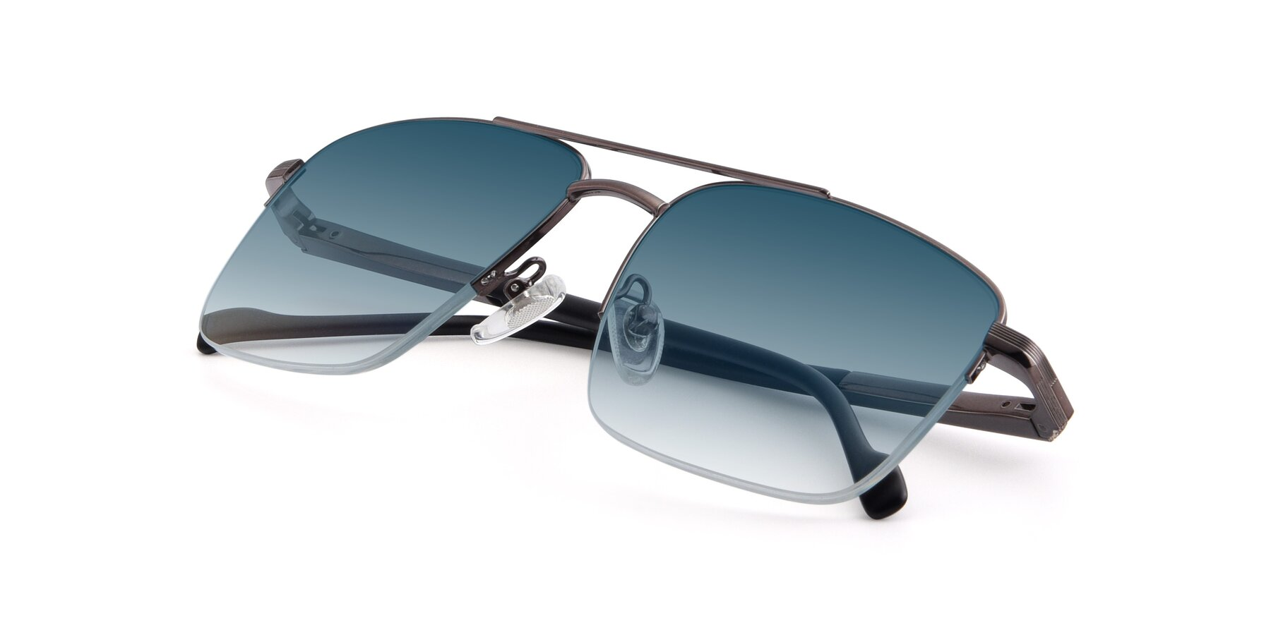 View of 19013 in Gunmetal with Blue Gradient Lenses