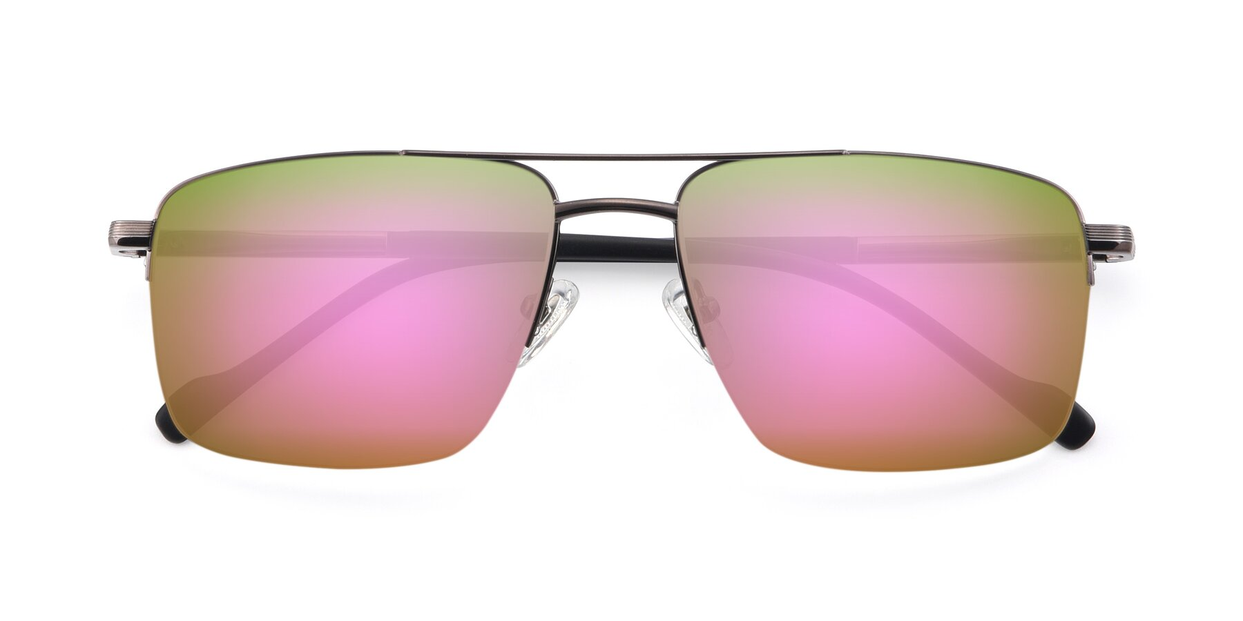 Folded Front of 19013 in Gunmetal with Pink Mirrored Lenses
