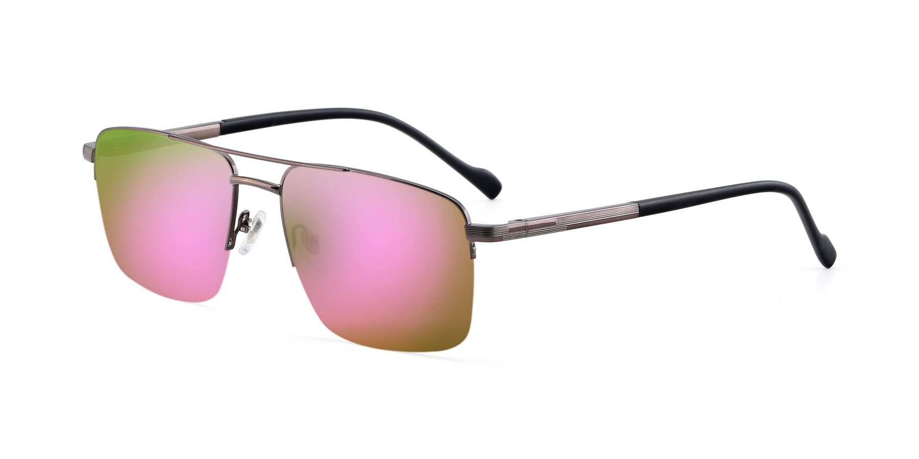 Angle of 19013 in Gunmetal with Pink Mirrored Lenses