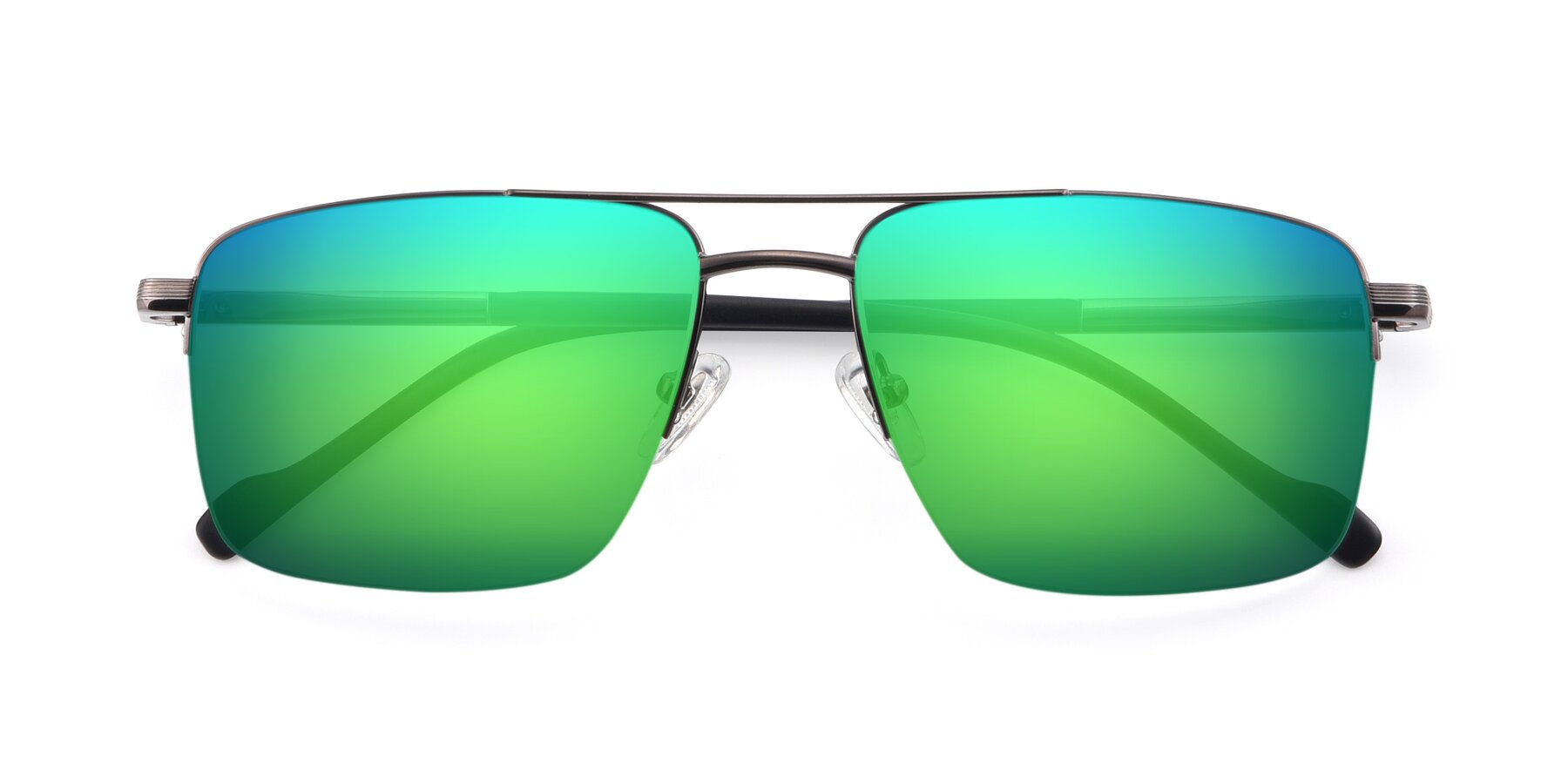 Folded Front of 19013 in Gunmetal with Green Mirrored Lenses