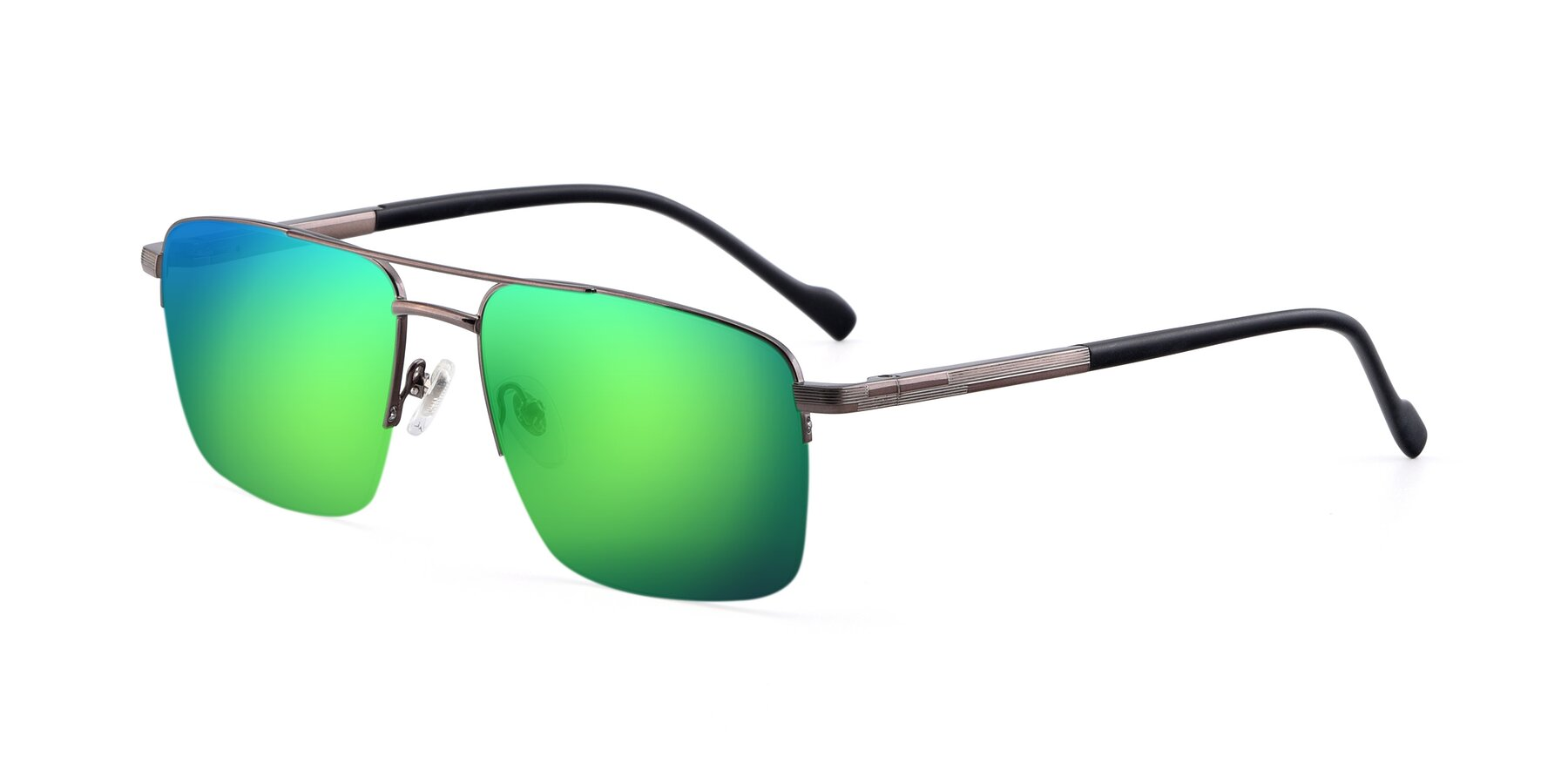 Angle of 19013 in Gunmetal with Green Mirrored Lenses