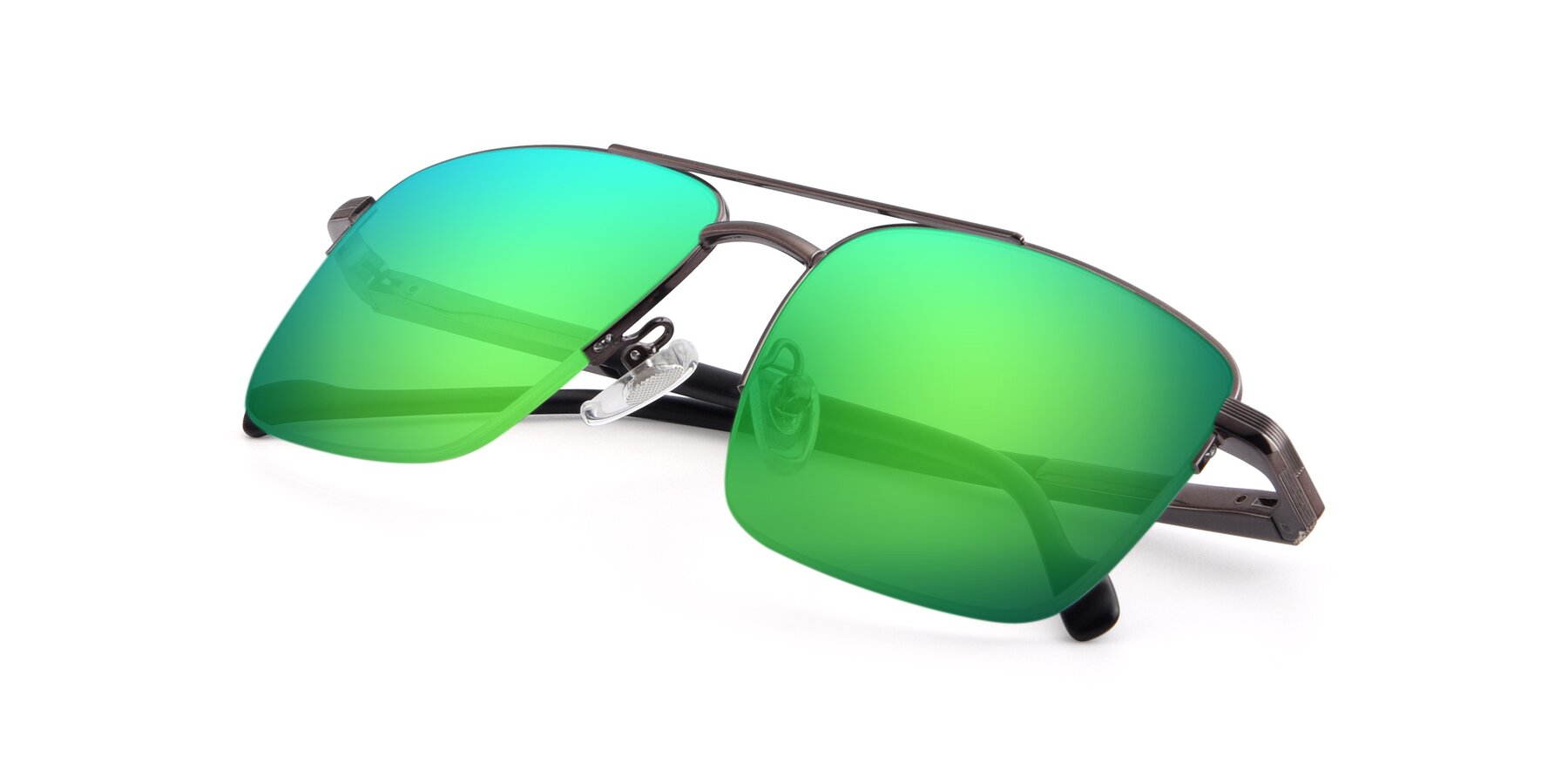View of 19013 in Gunmetal with Green Mirrored Lenses