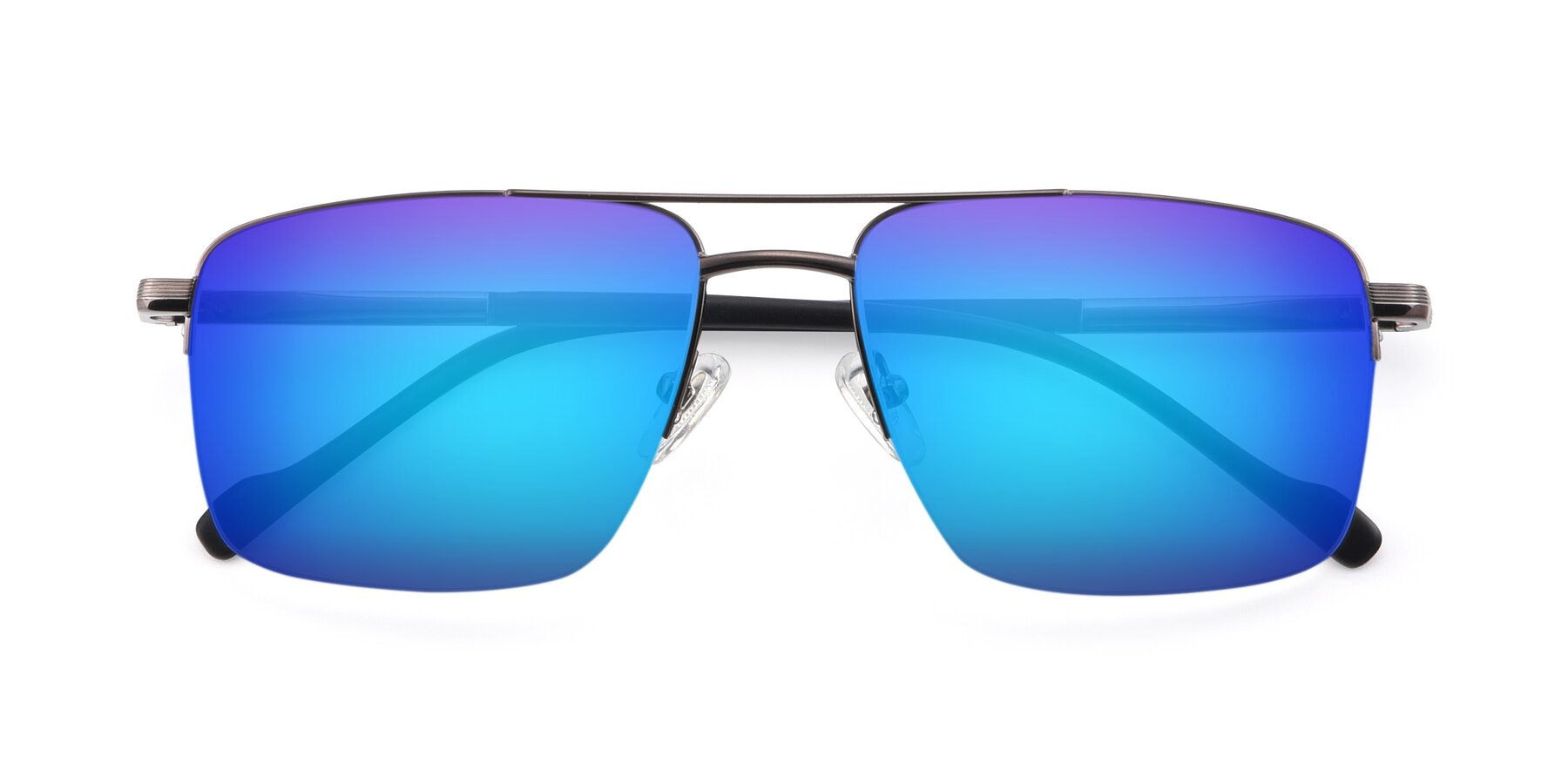Folded Front of 19013 in Gunmetal with Blue Mirrored Lenses