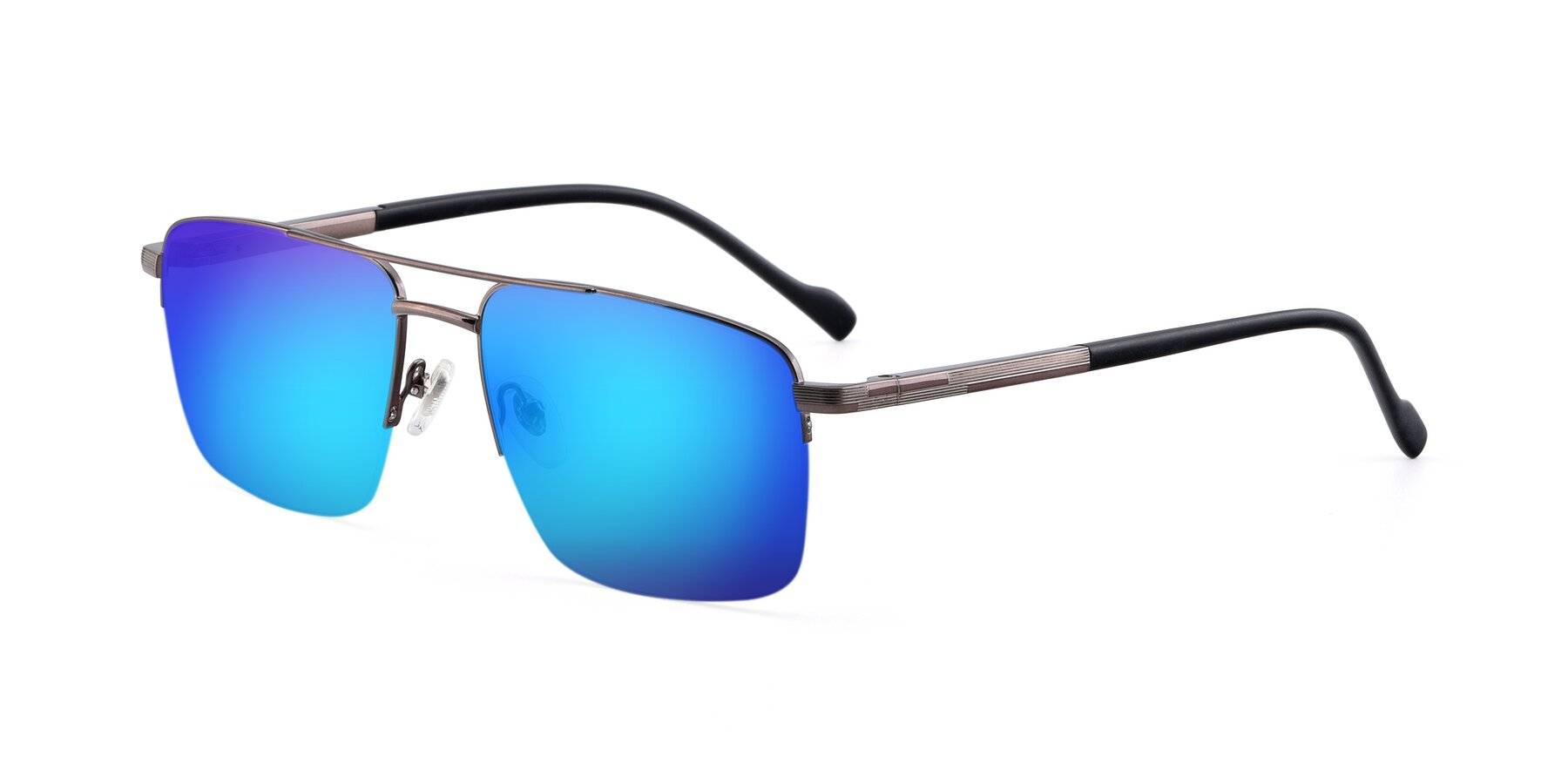 Angle of 19013 in Gunmetal with Blue Mirrored Lenses