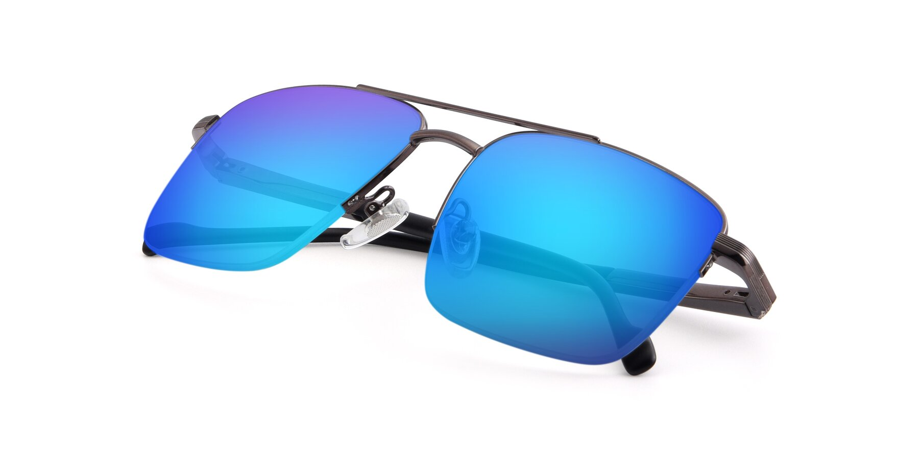 View of 19013 in Gunmetal with Blue Mirrored Lenses