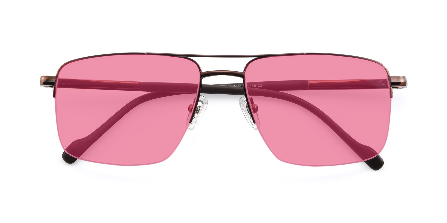 Folded Front of 19013 in Bronze with Pink Tinted Lenses