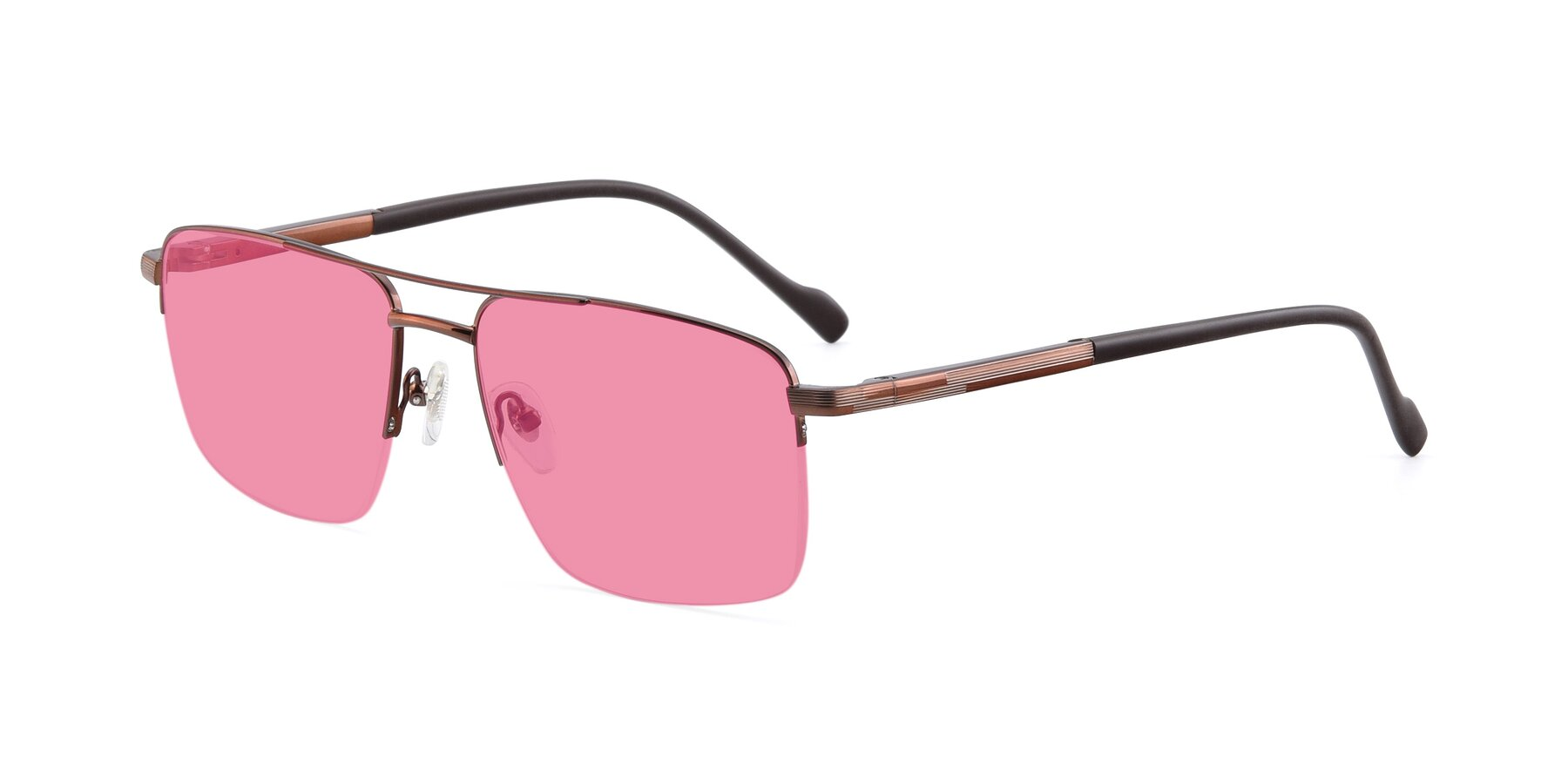 Angle of 19013 in Bronze with Pink Tinted Lenses