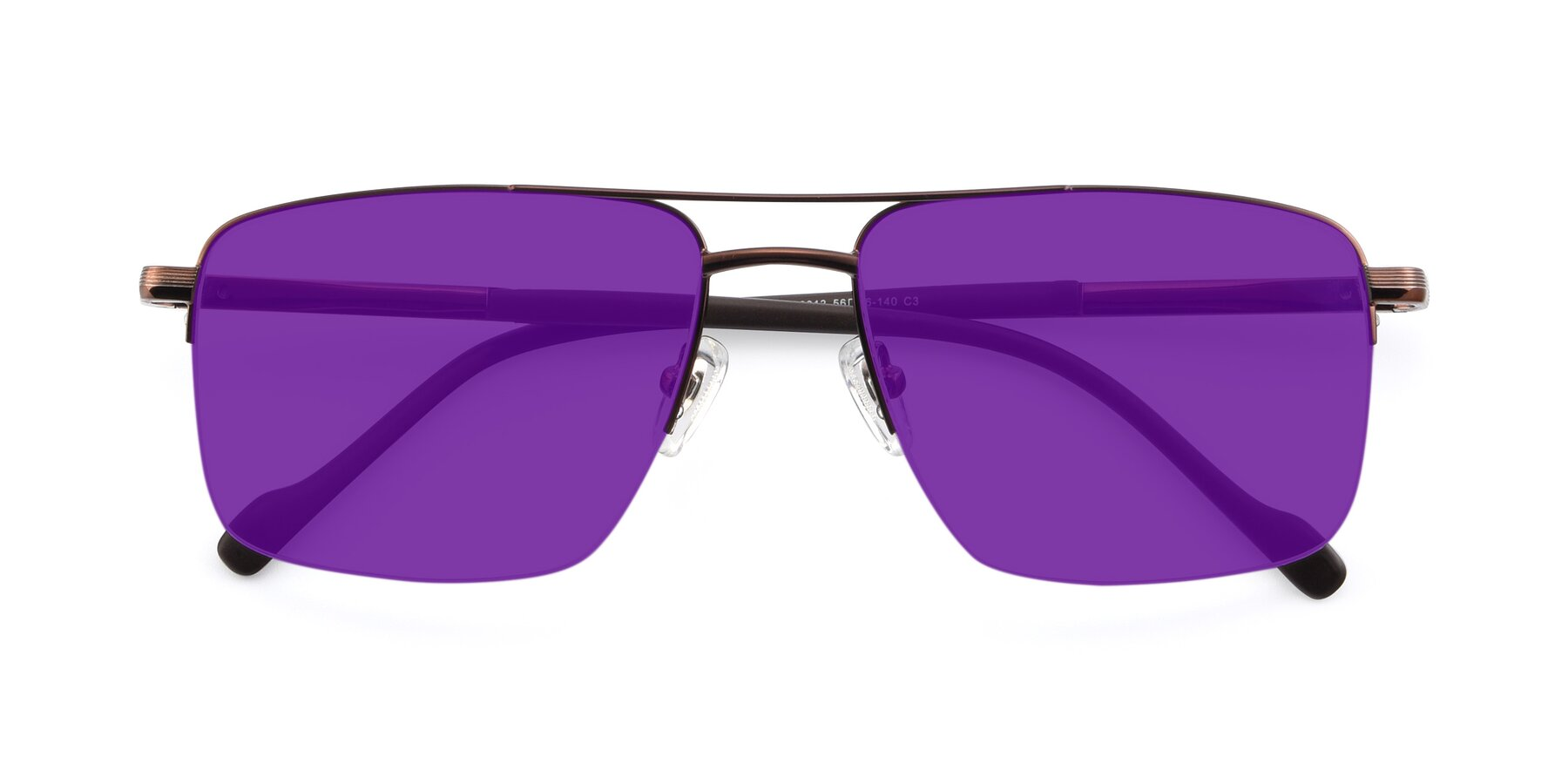 Folded Front of 19013 in Bronze with Purple Tinted Lenses