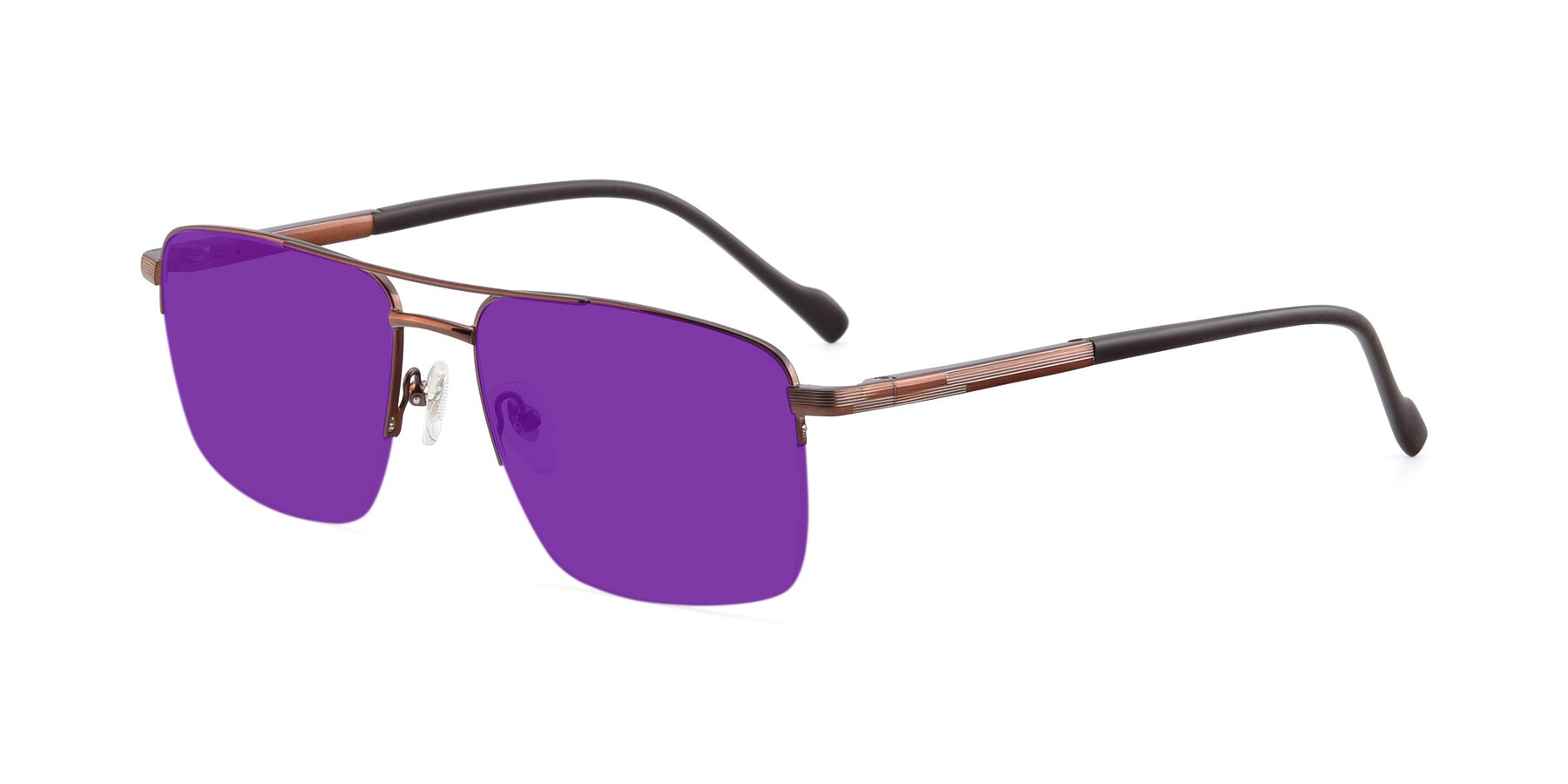 Angle of 19013 in Bronze with Purple Tinted Lenses