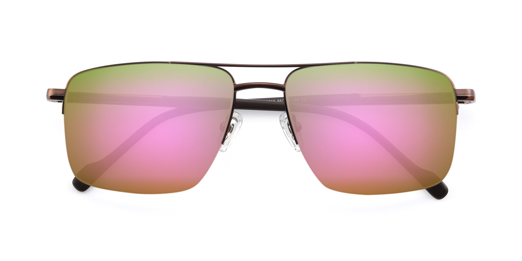 Folded Front of 19013 in Bronze with Pink Mirrored Lenses