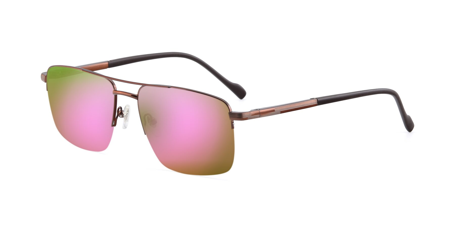 Angle of 19013 in Bronze with Pink Mirrored Lenses