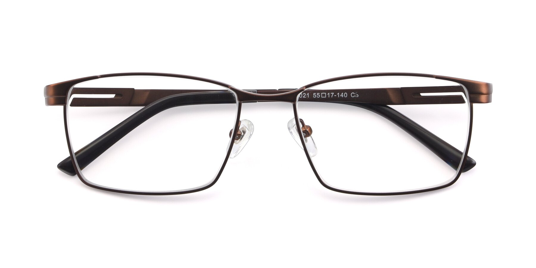 Folded Front of 19021 in Brown with Clear Eyeglass Lenses