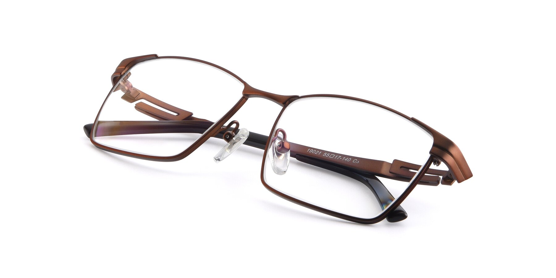 View of 19021 in Brown with Clear Eyeglass Lenses