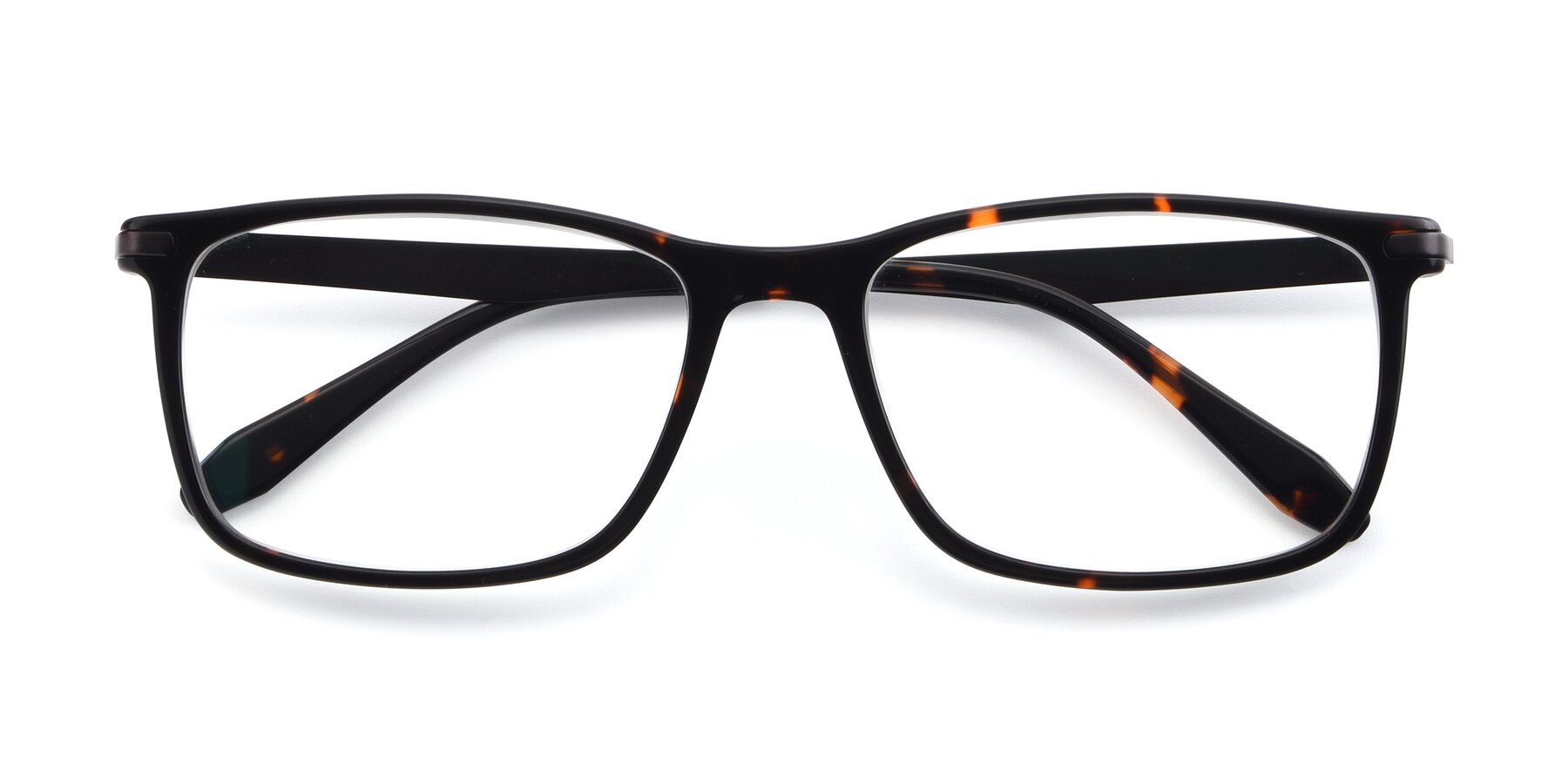Folded Front of T002 in Tortoise with Clear Eyeglass Lenses